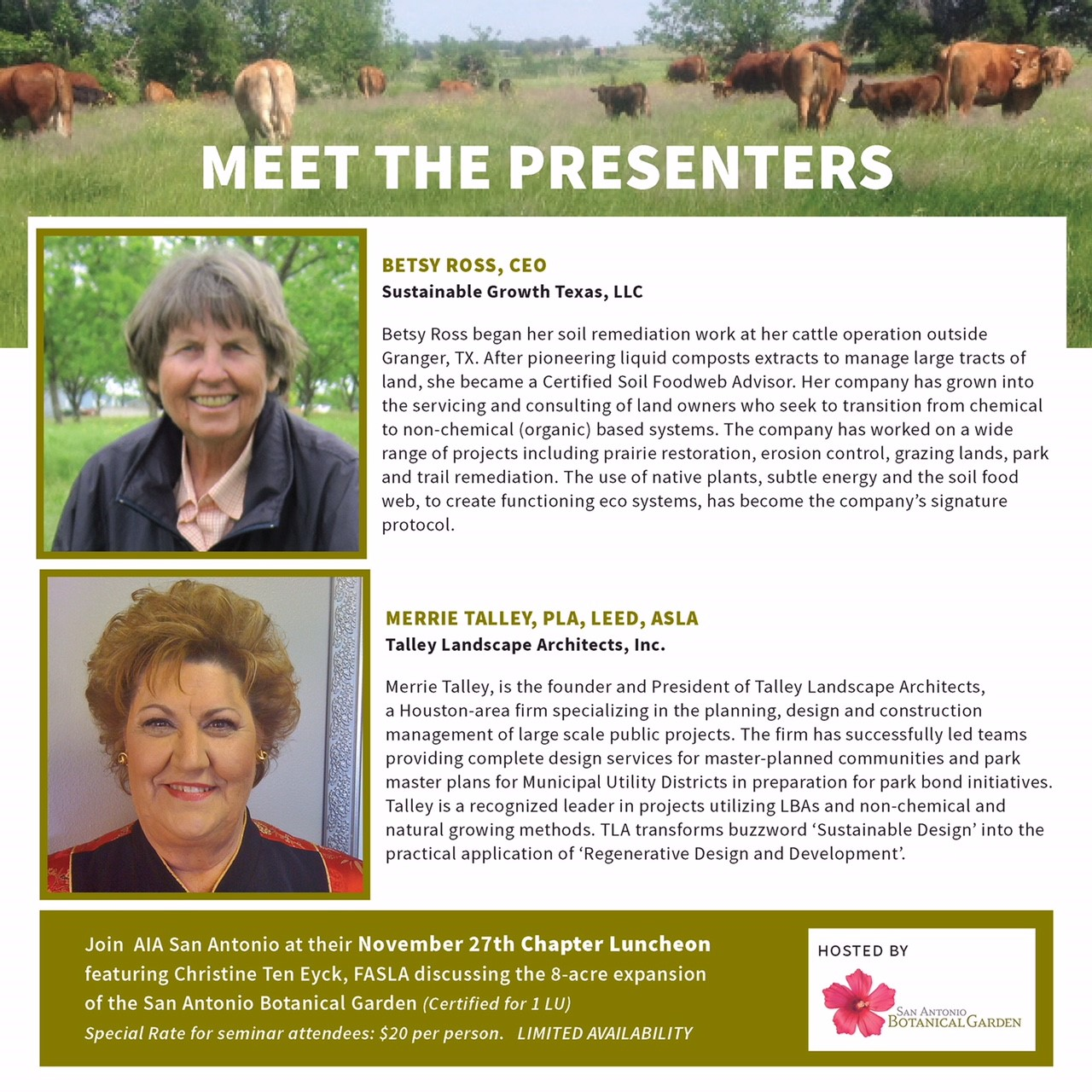 - The presentation is a two part class, that will provide architects (AIA) and landscape architects (ASLA), contractors, facility managers, maintenance crews, and owners insight into establishing a framework for managing natural growing systems.