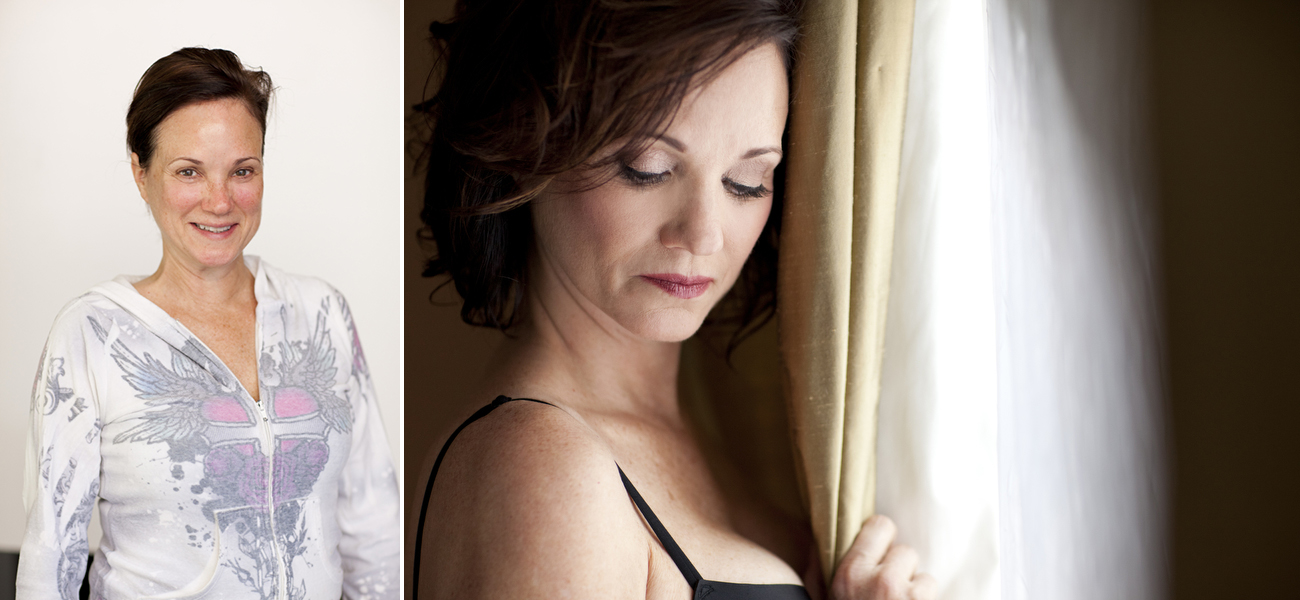 before and after mature boudoir photoshoot makeover