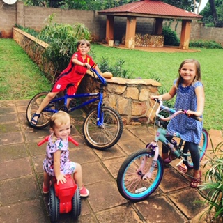 We finally snagged some hand-me-down bikes for the big kids and they are thrilled!! Riding nonstop:)
