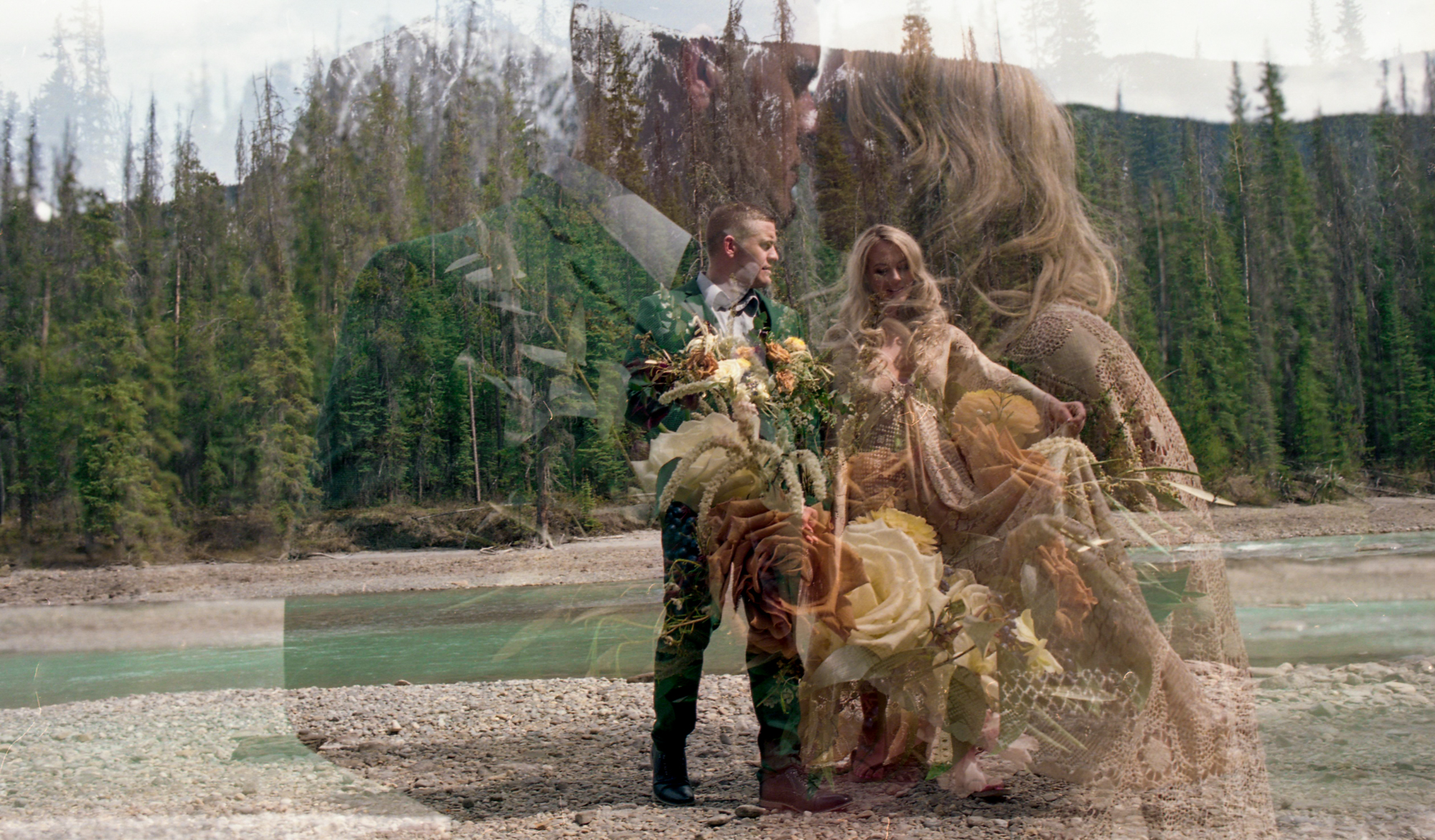 Banff elopement double exposure
