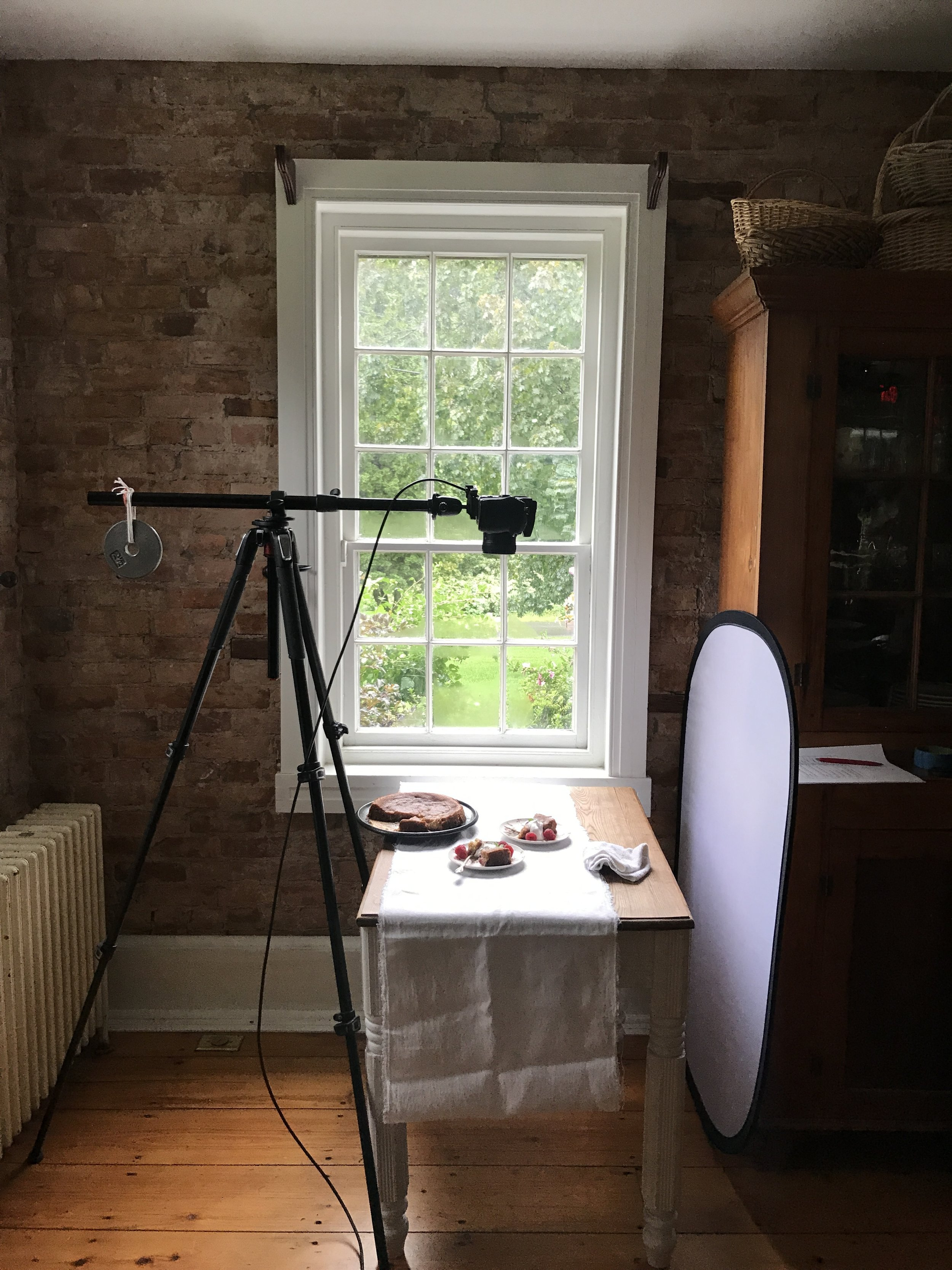Behind-the-scenes on-site of cookbook photo shoot in the Catskills
