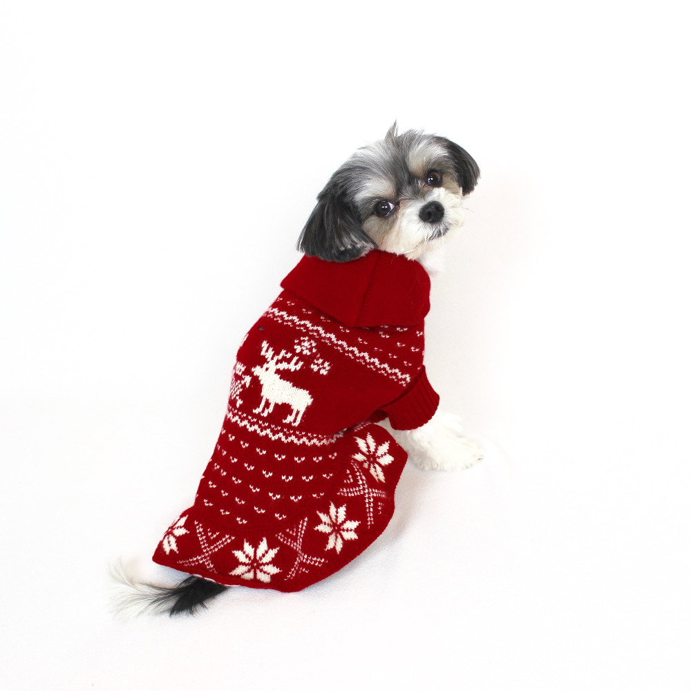 "ralph lauren reindeer shawl dog sweater - ($95.00)  tinkerbelle ""stay warm, cozy and stylish for the winter in this classic sweater dress"""