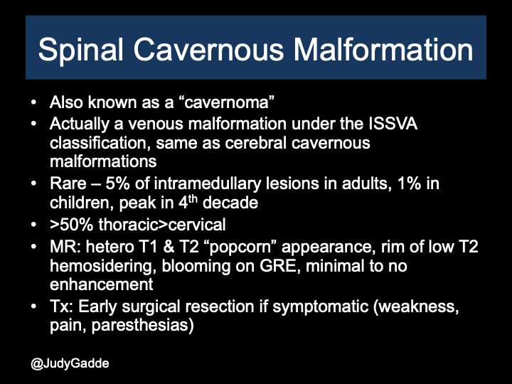Spinal cavernous malformation  Cavernoma
