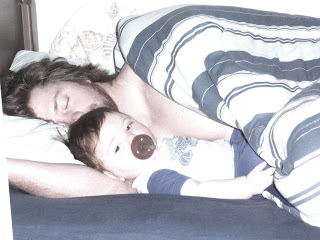 We typically sleep in the 'bunk bed' room and I love this photo of Dan sleeping and Ryan just waking up.