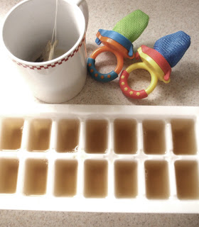 steep the tea in hot water for four minutes. pour into an ice tray and freeze until solid. place frozen tea cubes into mesh teethers and let your little one sooth their sore gums. *be sure to never leave them alone while they use the teether!