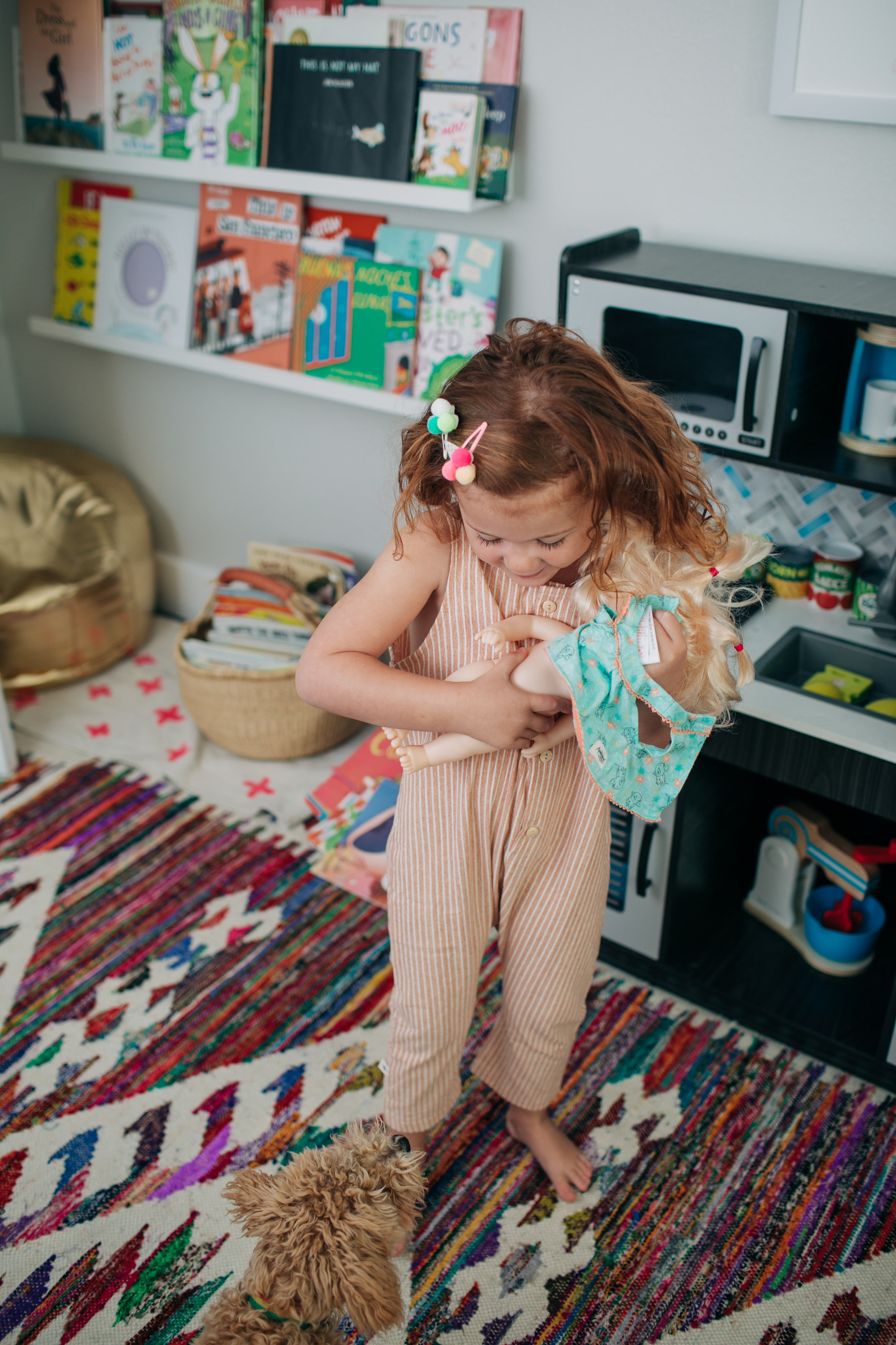 She'll ask if you want to play and then just jump right into whatever it is that she wants. Sometimes it's baby dolls, sometimes it's dress up, sometimes she'll ask you to play music on you phone and have a dance party.