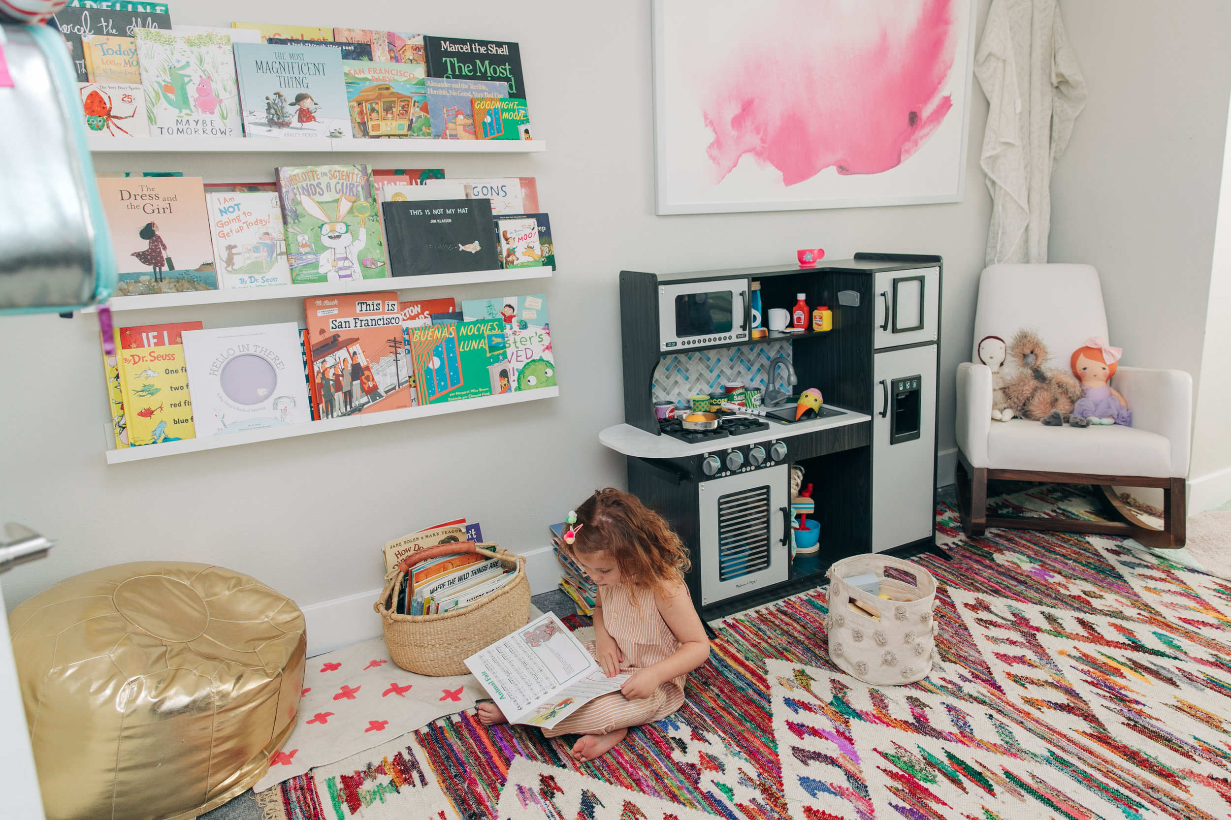 We shared Mila's reading nook  HERE . It is one of Mila's favorite spots in her room.