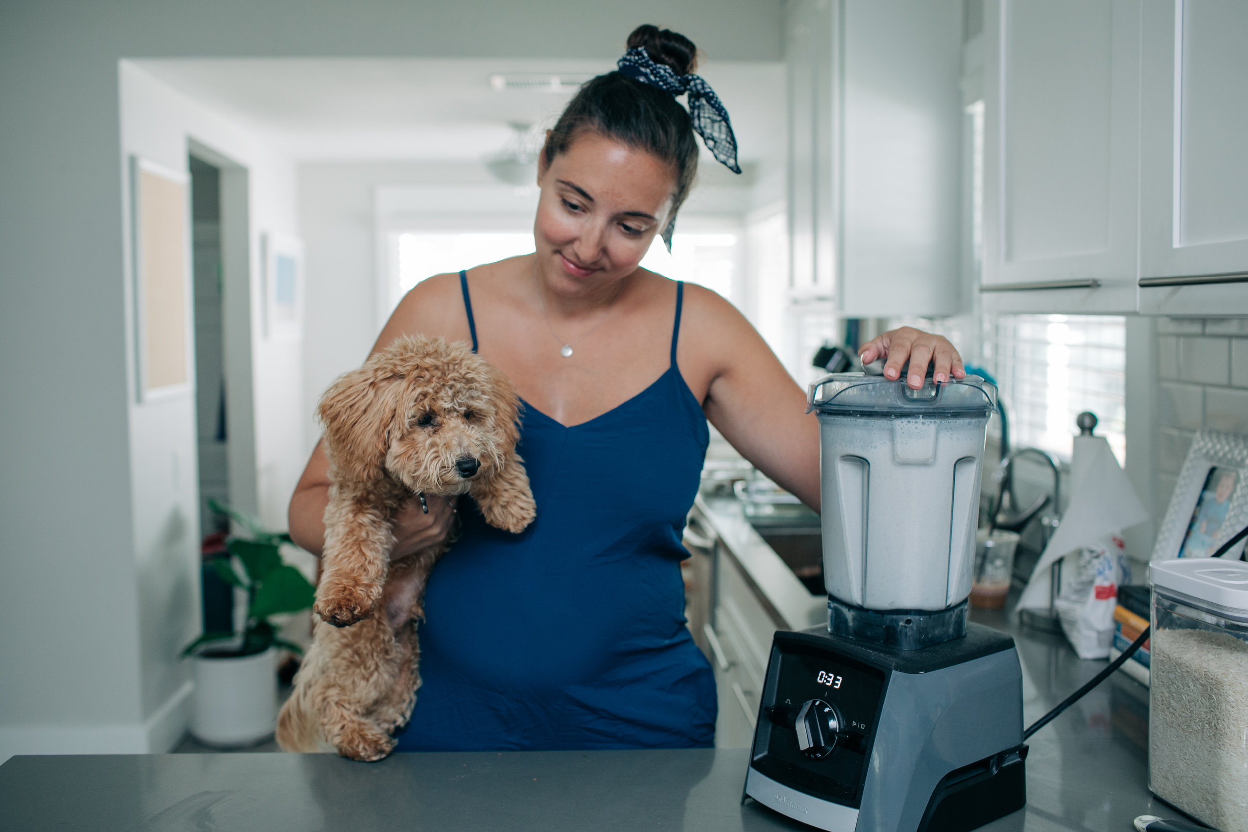 Marley is here because he cries when the blender is on. So we hold him when using the blender now so he doesn't get too upset. haha!