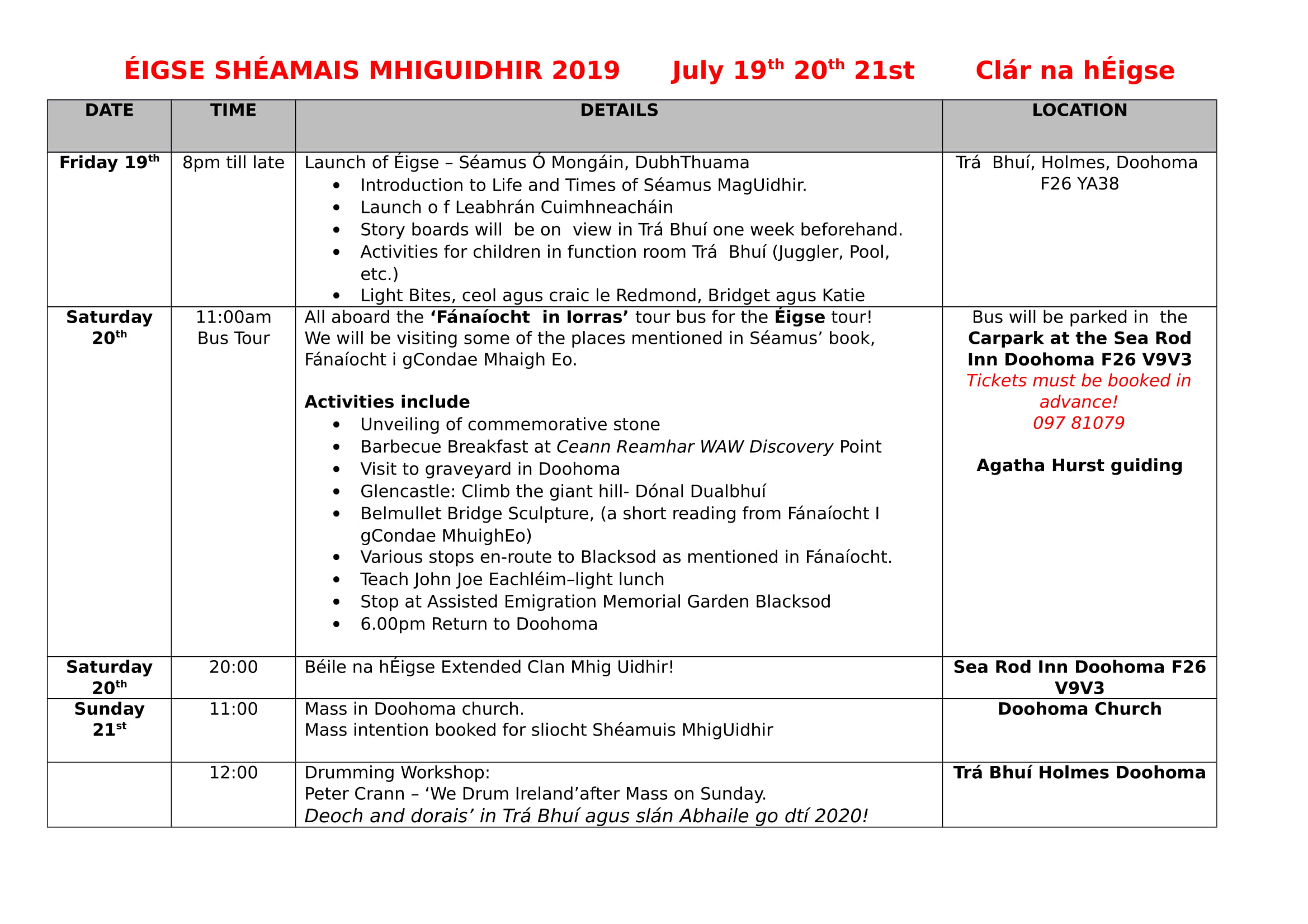Imeachtaí Éigse Shéamuis MhigUidhir 2019 Timetable of events.docx 2-1.jpg