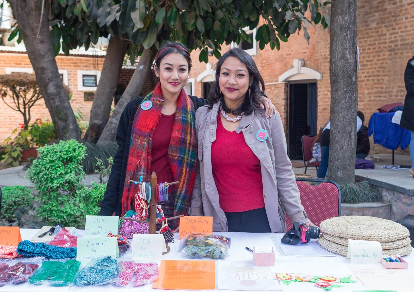 Lorina & Irina at Aji's first maker faire in early 2018.