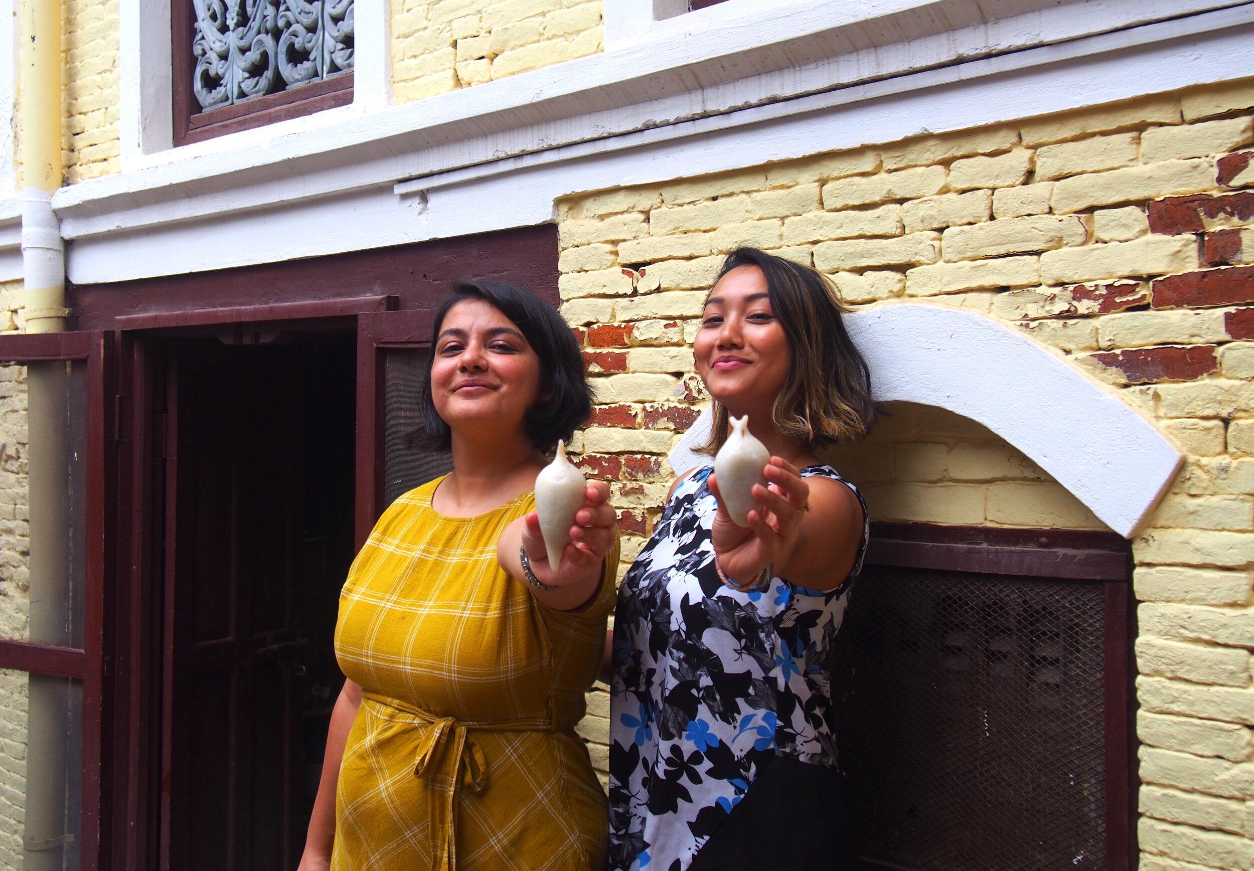 Meet the organiser duo. Aji's co-founder Lorina (right) and #MakerKT co-founder Priya (left).