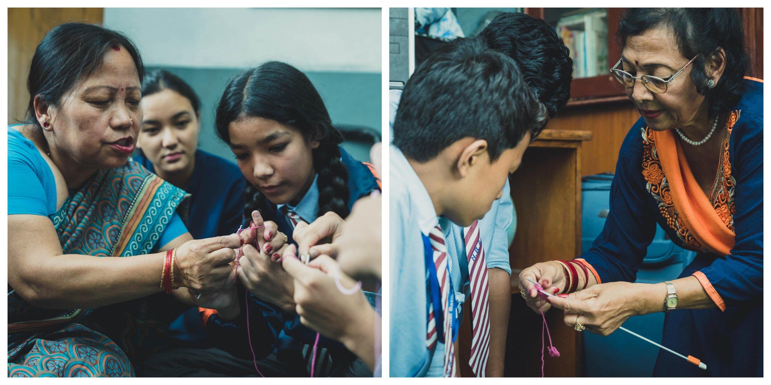 On the left, Aji's Maker Shakuntala Rana, on the right, Aji's Maker Sushila Sthapit teaching young students.