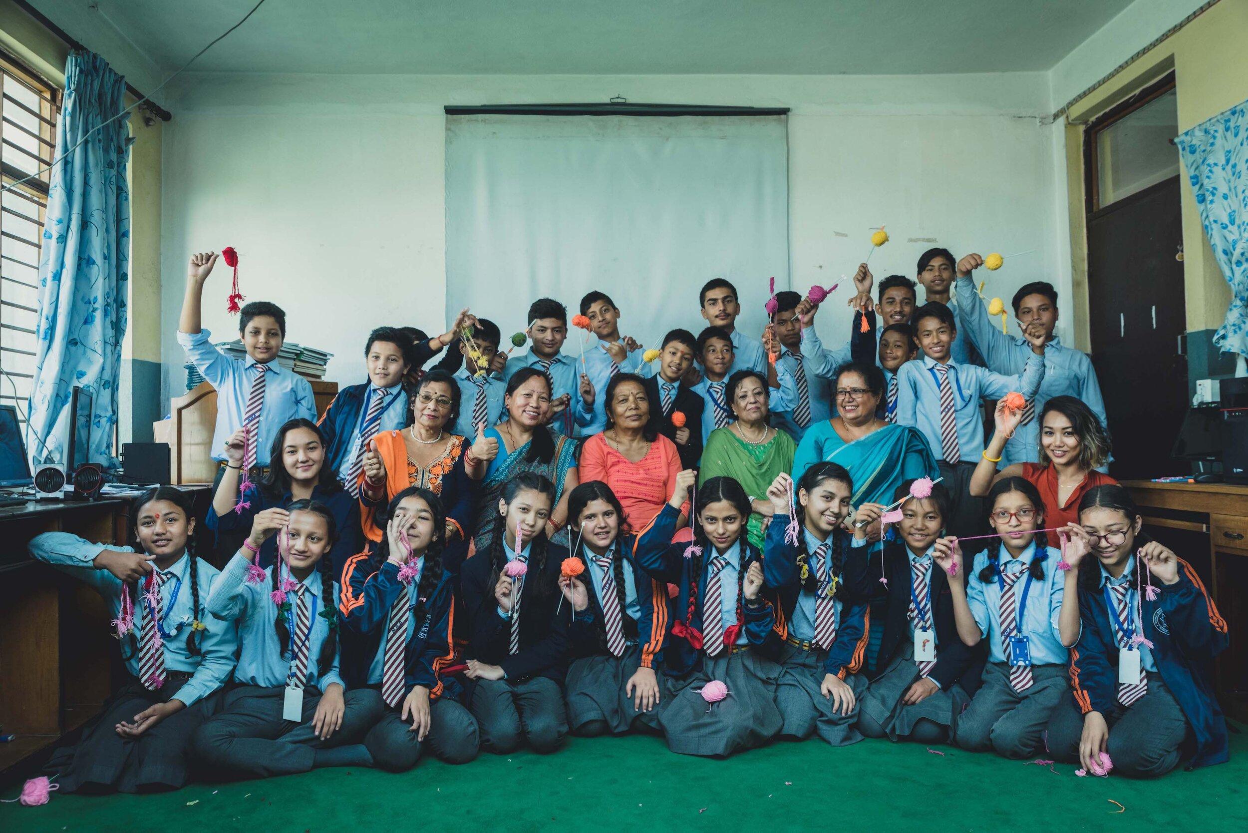 Aji's makers along with students from Nirmal Batika Academy and Aji's Co-founder Lorina.
