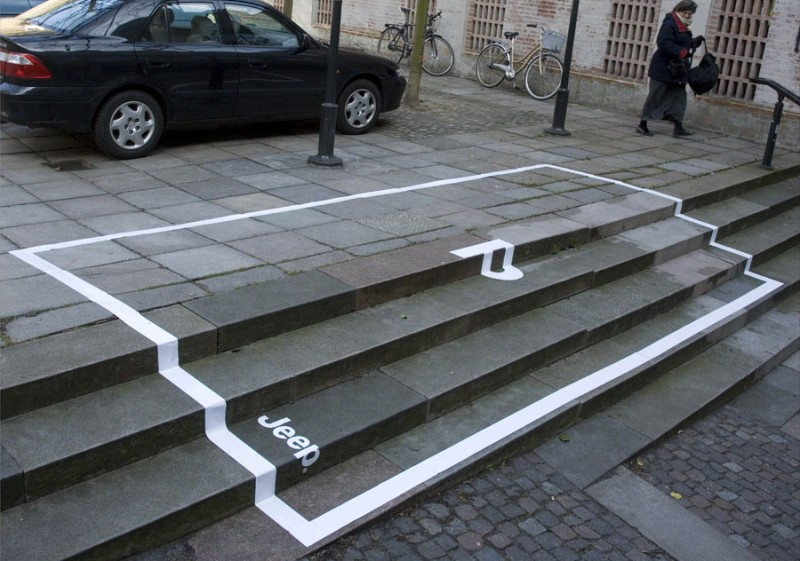 An ambient campaign for Jeep designed by Done by Bates Y&R in Copenhagen, Denmark. [Image  source .]