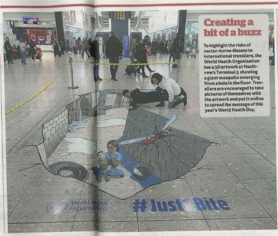 In the press - Not only was the artwork a success at Heathrow but also got picked up in media. Also picked up by the ITV News