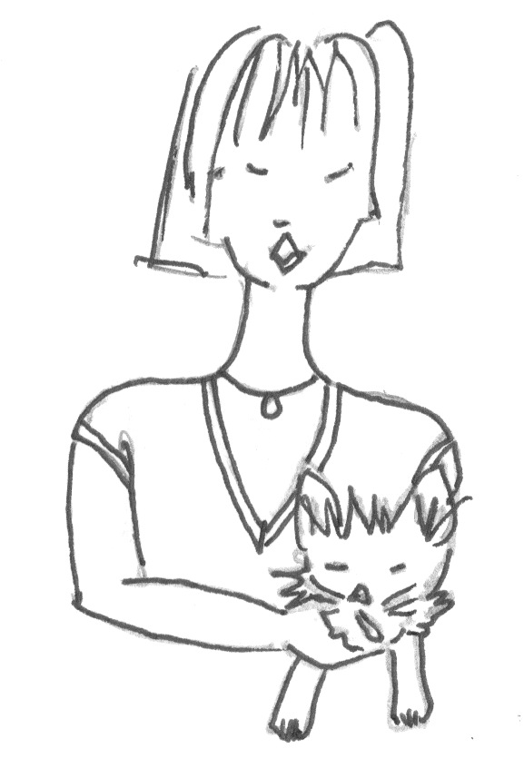 The designer and her dog. Doodle drawing circa 1999.