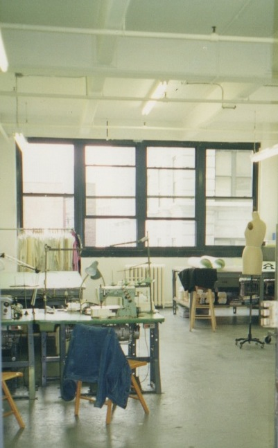 The design room was always buzzing with sewing machines and included a dramatic view of the Twin Towers and the Brooklyn Bridge.