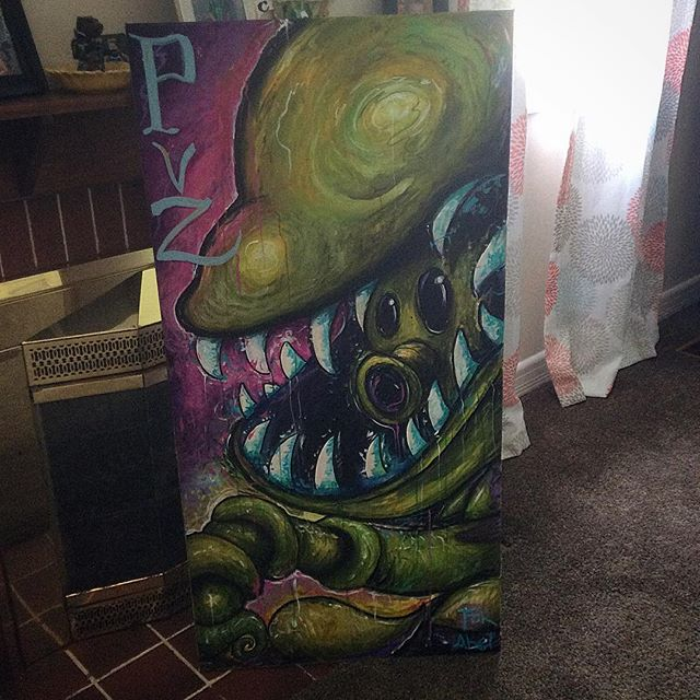 Son wanting a Snap Pea for his Wall. #plantsvszombies #art#acrylicpainting #painting#instaart #cartoon #cartoonart