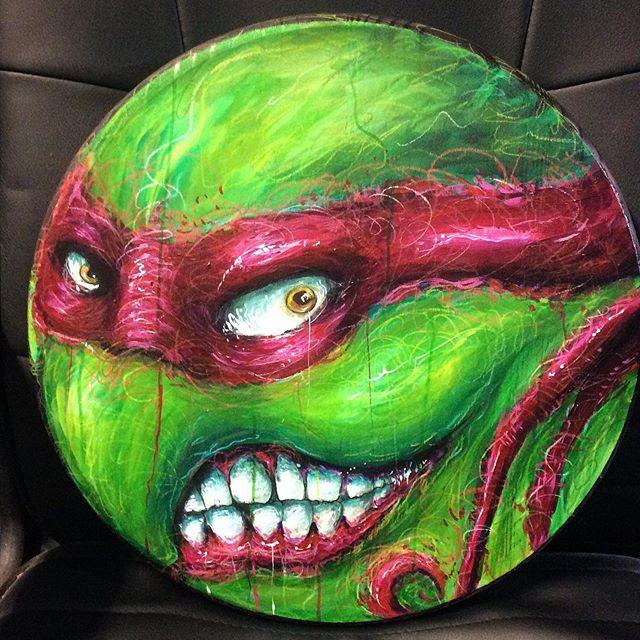 Turtle for Turtle guy aka @johnsonwayz86. #teenagemutantninjaturtles #cartoon#painting#acrylic#goldenacrylics