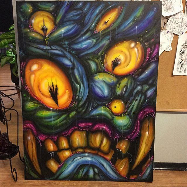 Beast paints from Sunday. #painting #acrylicpainting #goldenpaints #darkart #airbrush