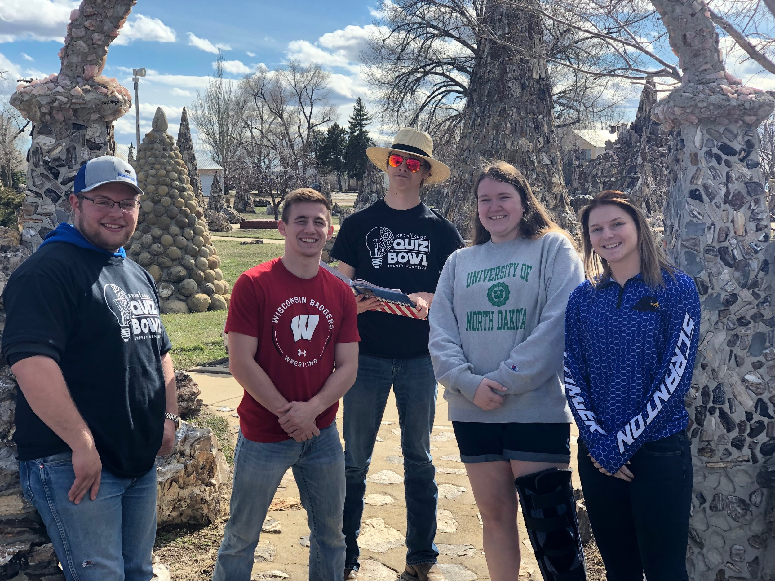QUIZ BOWL CHAMPS - 2019 - Seniors Mack Buckmier, Kyle Burwick, and Zach Rickersten were accompanied by juniors Emily Shirek and Alyssa Andress to Lemmon on the morning of April 15th. It was there they proceeded to go 6-1 against towns from around the area to come out on top at the KNDC/KBJM Quiz Bowl competition for 2019. This was the first time Hettinger has ever won the competition.
