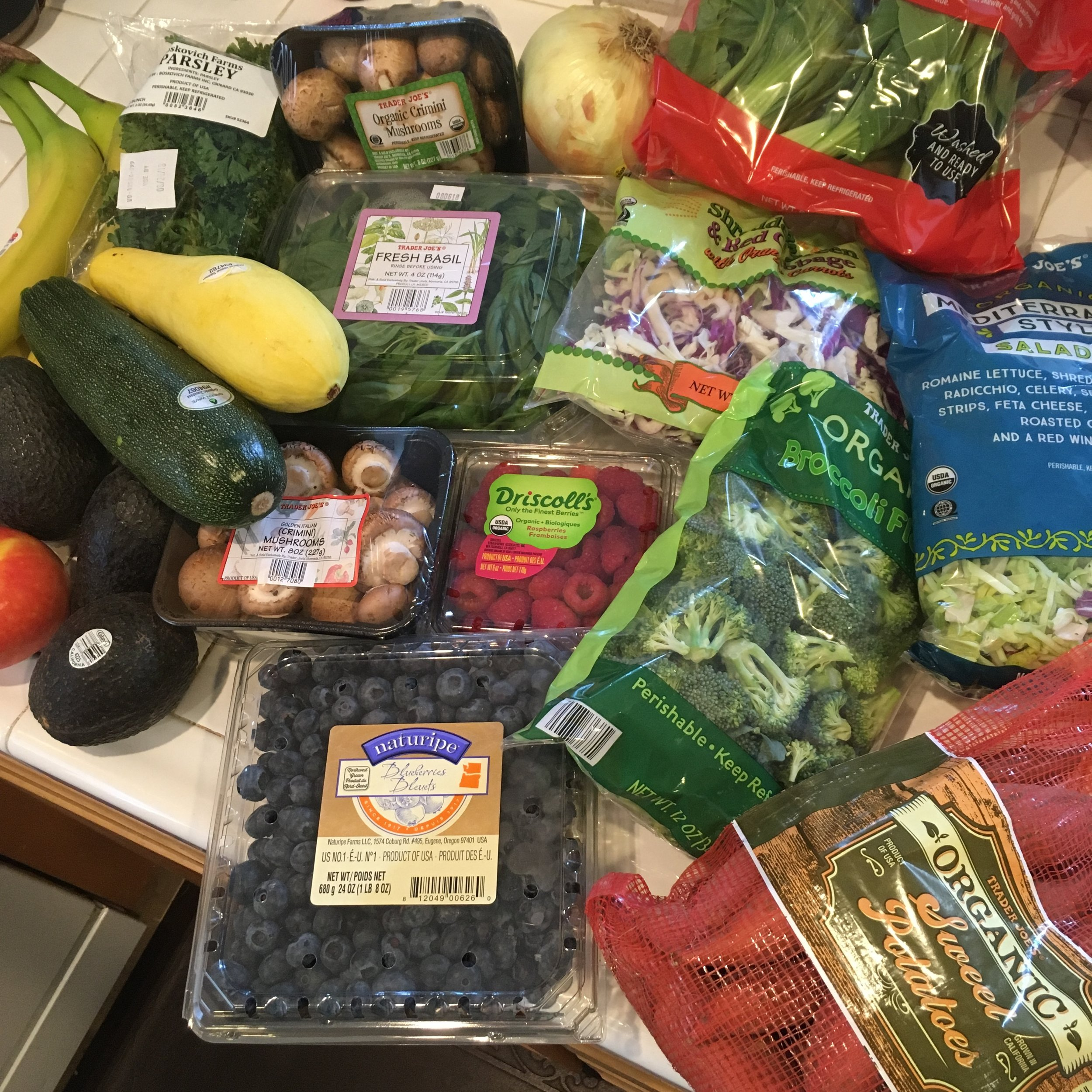 The grocery run when I returned home. Fresh veggies and fruit for days!!