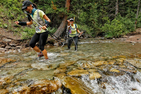 Transrockies 2011 - Having fun in the water with my teammate, Tracie - Team Double Happiness!