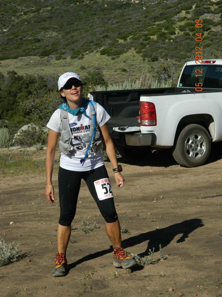 At mile 44-ish, the last aid station of the PCT 50 trail run, 2012