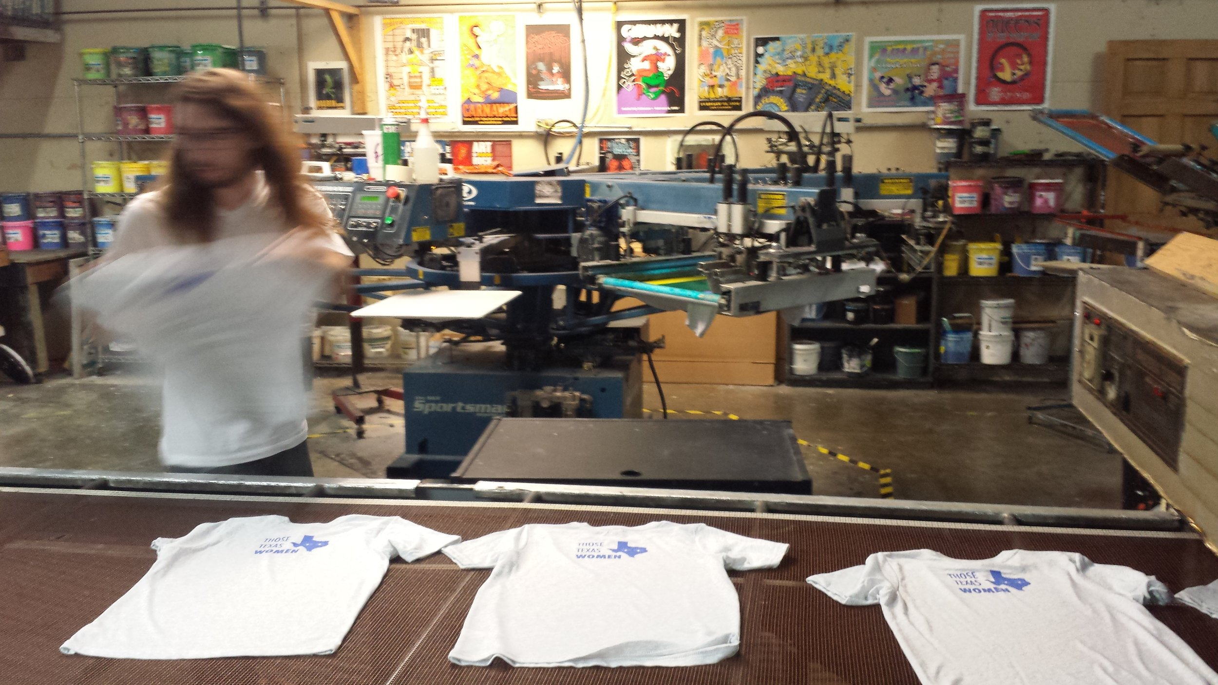 Shirts right off the press