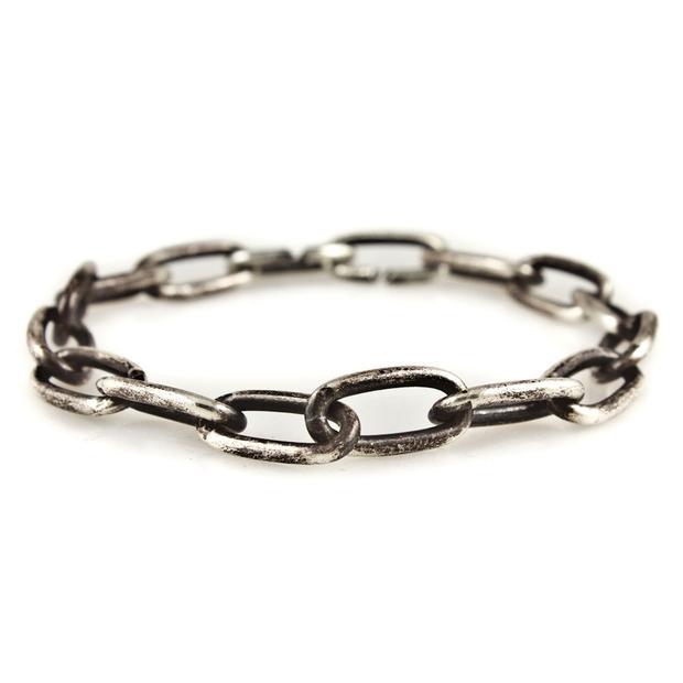 Caged Sterling Chain Link Bracelet M