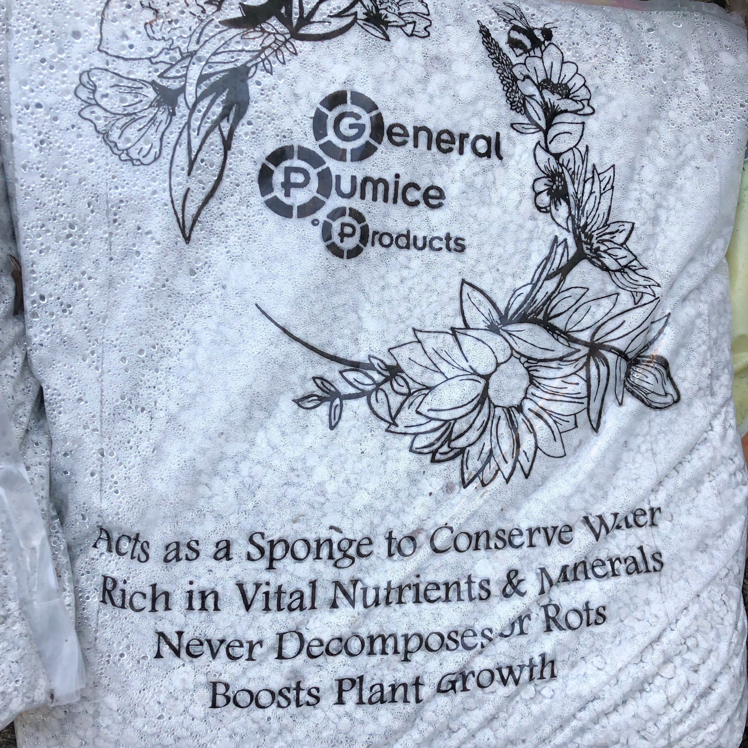 Pumice is one of my favorite soil amendments. Pictured is General Pumice Products, a local company that sells online as well (www.GeneralPumiceProducts.com/order-here/). I was gifted this pumice but started using it well before I started blogging.