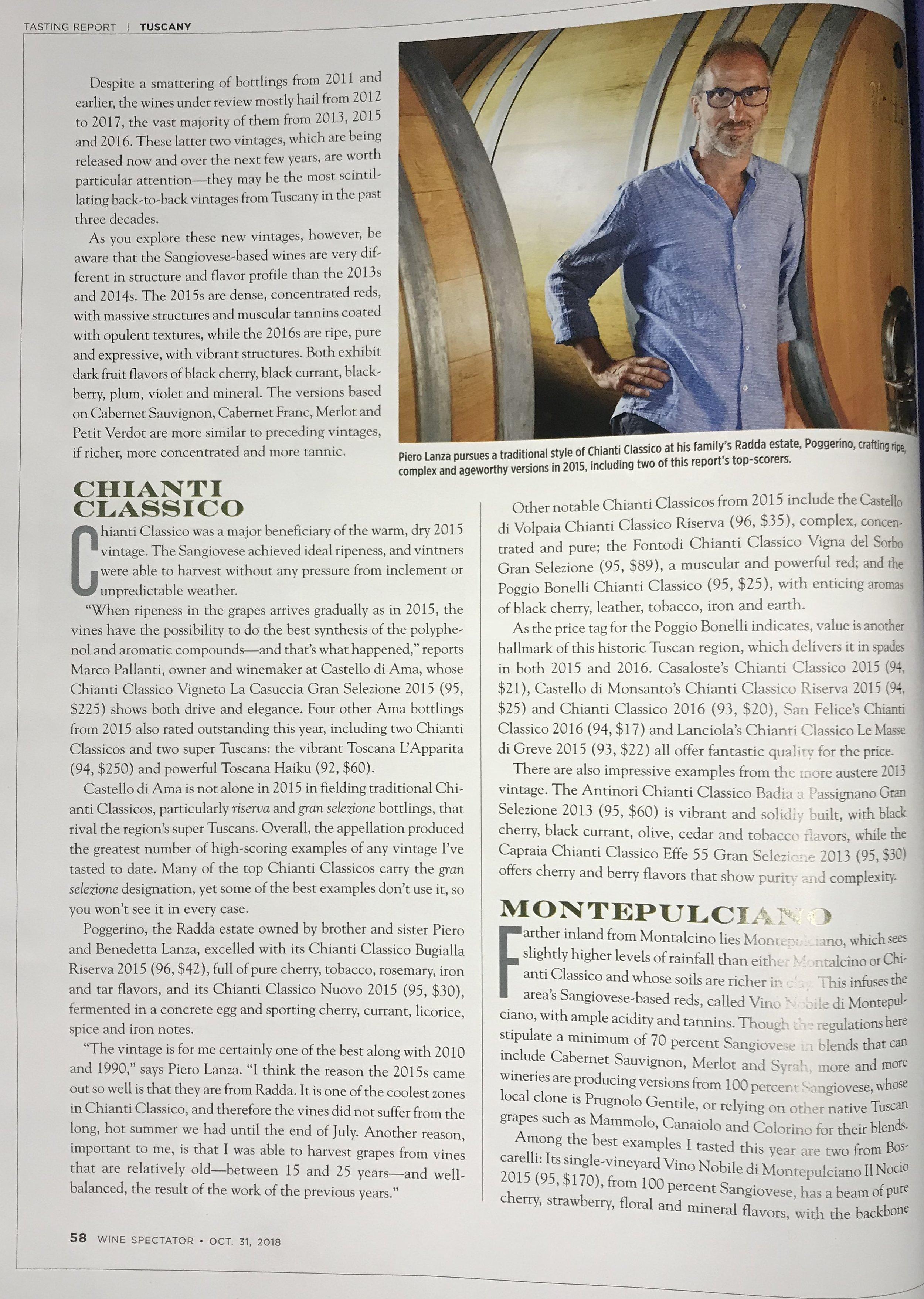 Wine Spectator October 21,2018  Congrats Piero Lanza