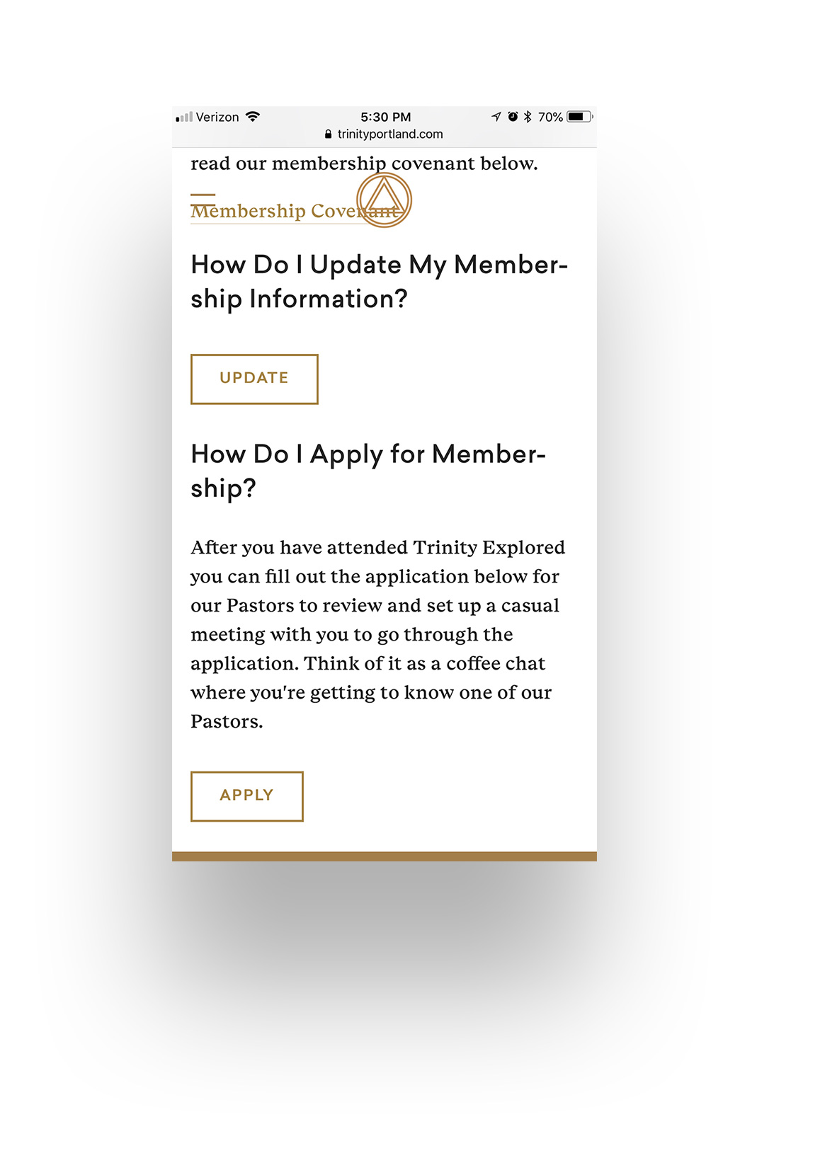 Membership made easier. - Whether you're a member wanting to update your membership information or someone interested in membership, our new membership page will help you accomplish all things in regards to membership.TrinityPortland.com/Membership