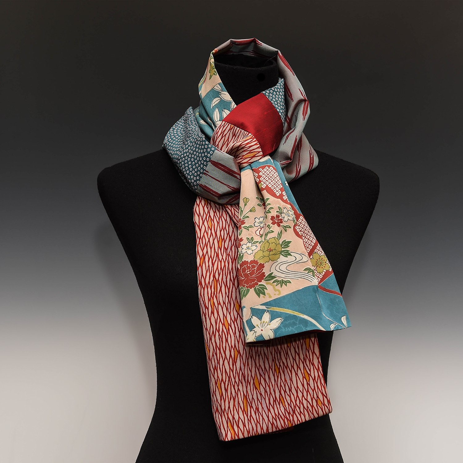 """CAROL SCHNEIDER - Scarves and accessories created and transformed from kimonos and various vintage fabrics.Limited Editions 