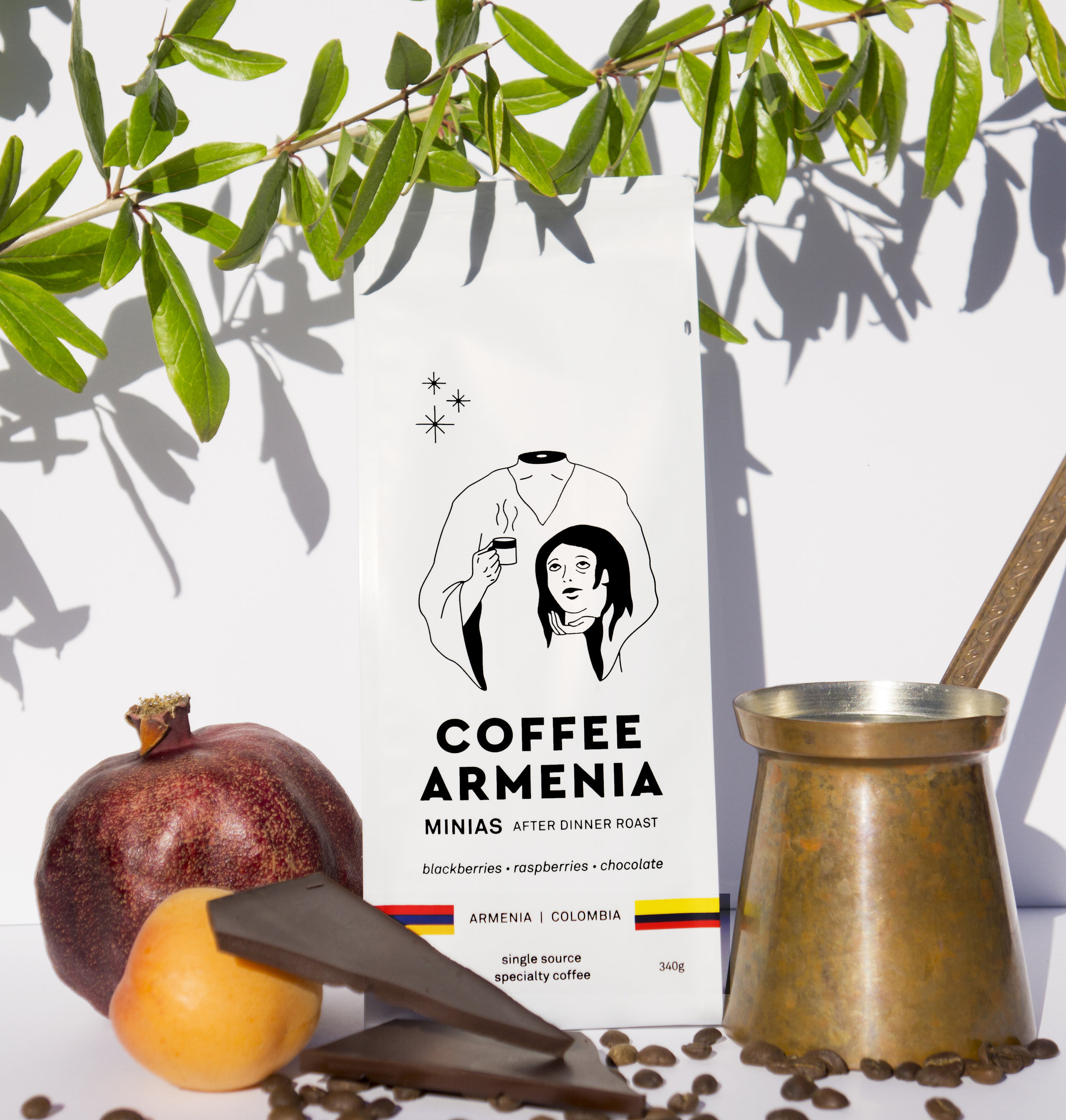 Our Minias After Dinner Roast is specifically roasted for the Armenian Coffee style. It has a Medium High Roast, with the objective to caramelize sugars working towards balancing the bright acidity and creating the foam that we all look forward to.