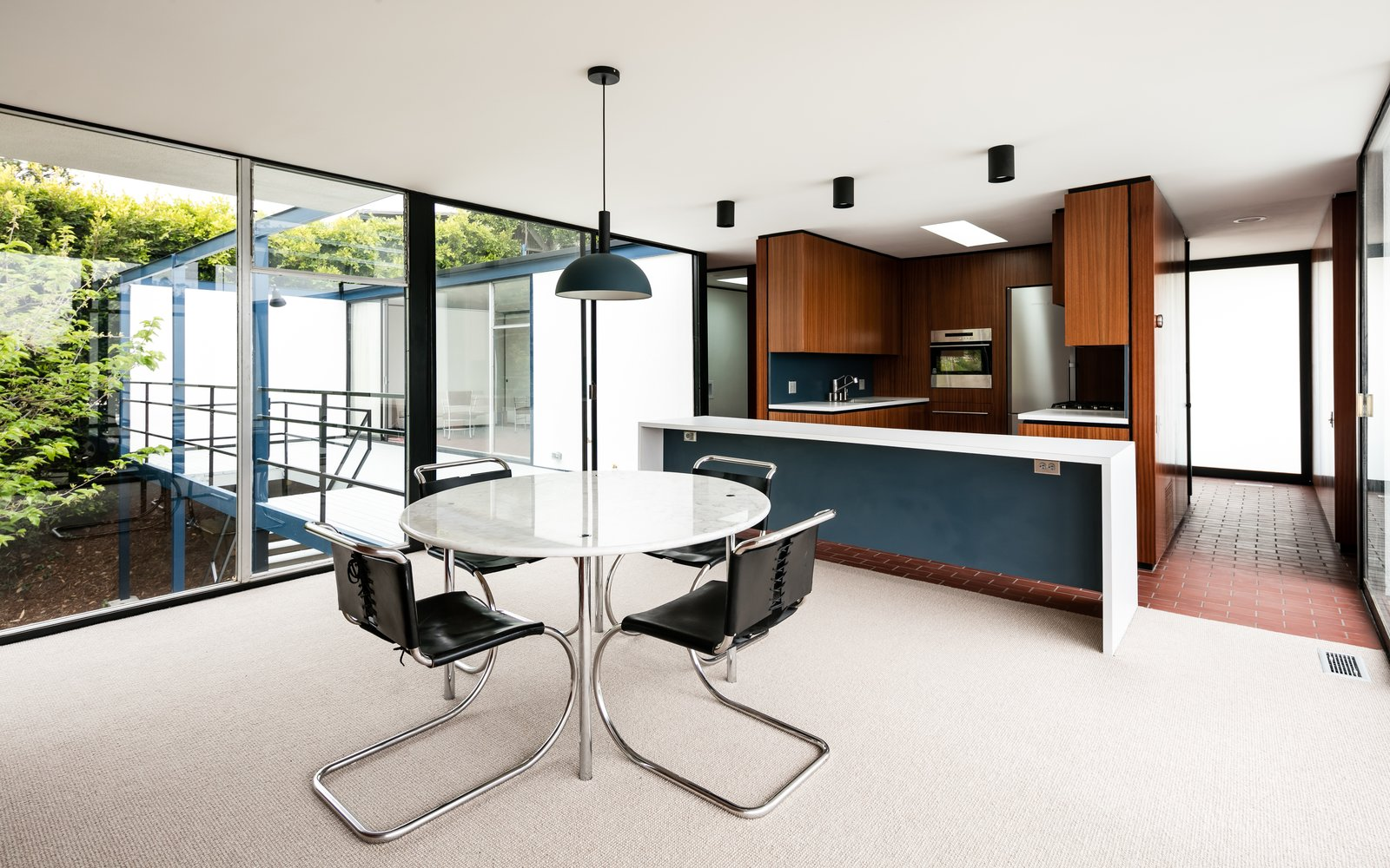 The open kitchen and dining area.