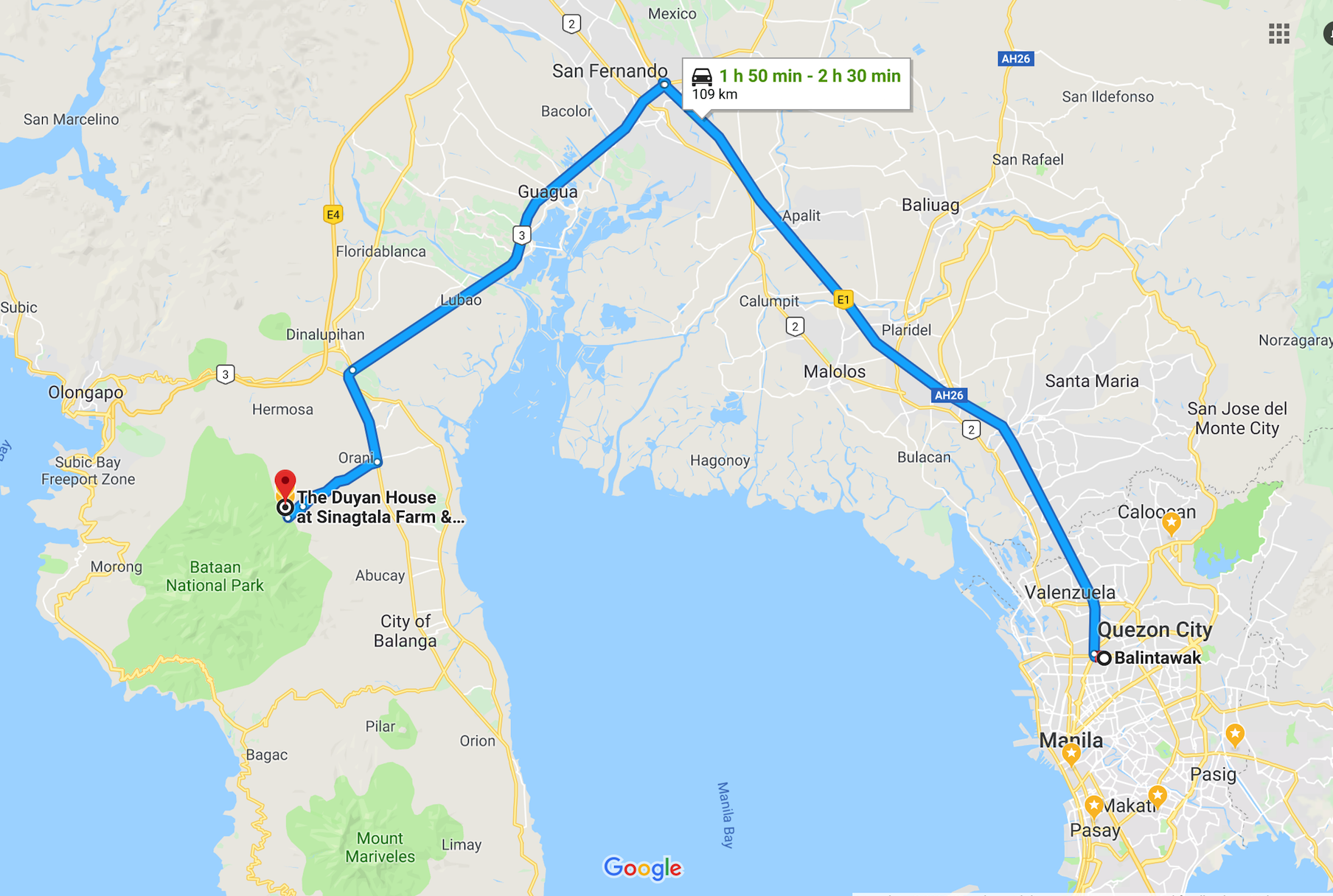 The shortest distance to The Duyan House from Manila is via the San Fernando-Lubao route  The scenic but more circuitous route is via the SCTEX towards Subic Bay, exiting at the Dinalupihan interchange  Find us on WAZE and GOOGLE MAPS for more detailed driving directions
