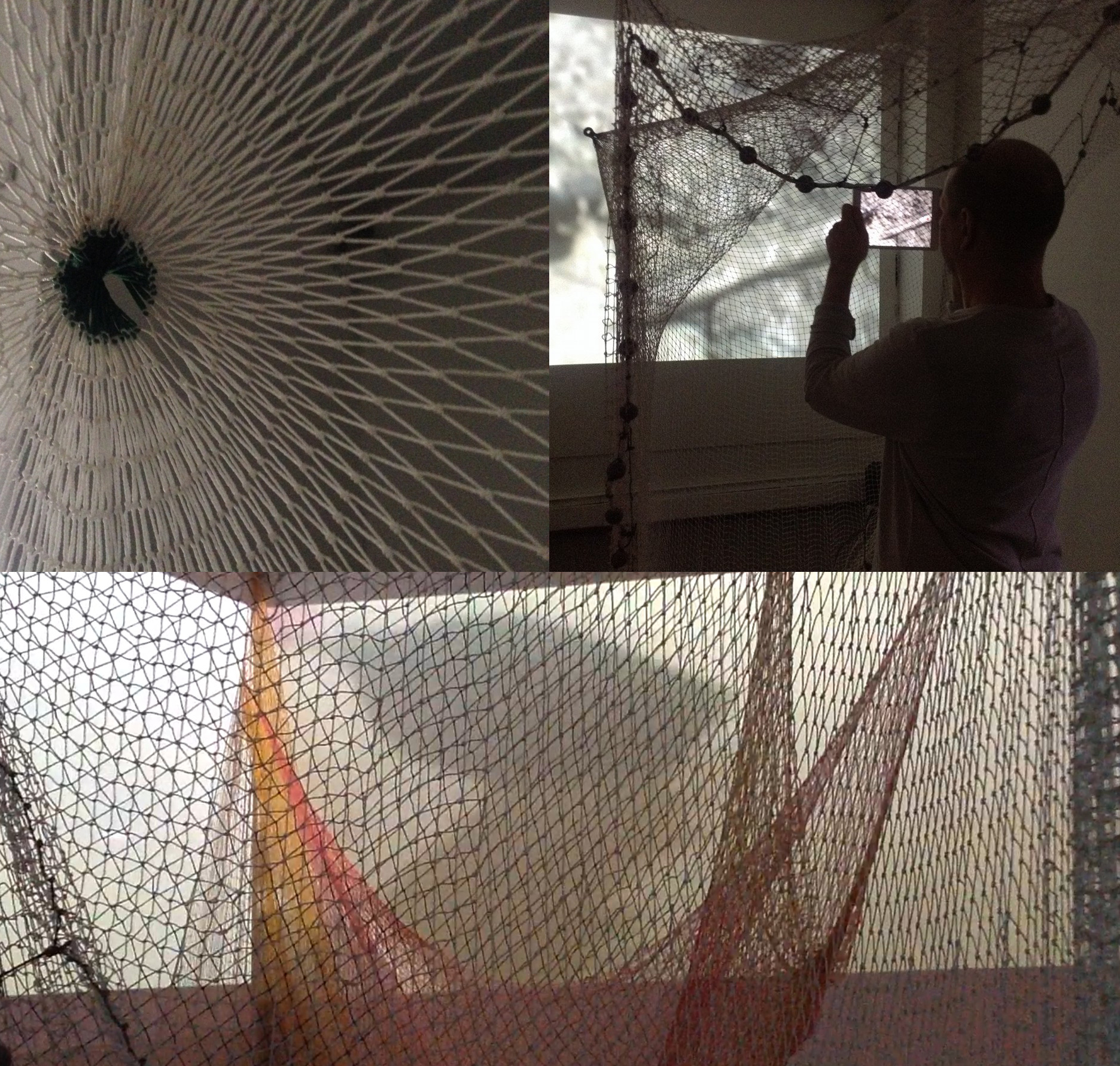 Capasso+Keller+Tinajero, InMesh (2014) Multimedia Installation, MediaNoche Gallery, Harlem, NY. Hand woven nets by Ashuar people from the Amazonian region in Ecuador