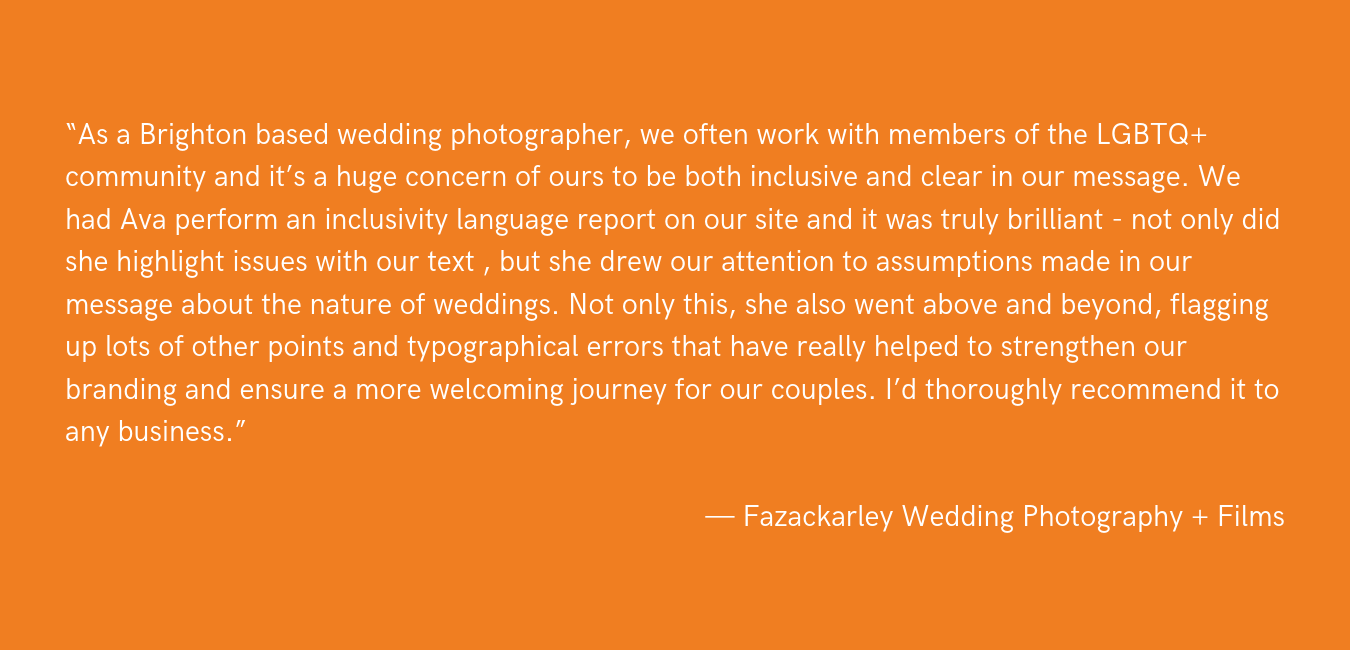 """""""We are wholeheartedly grateful to LGBTQ Equality Weddings for helping us to better communicate our commitment to equality. The wedding industry considers and refers to heterosexual couples first and foremost, by def copy 2.png"""