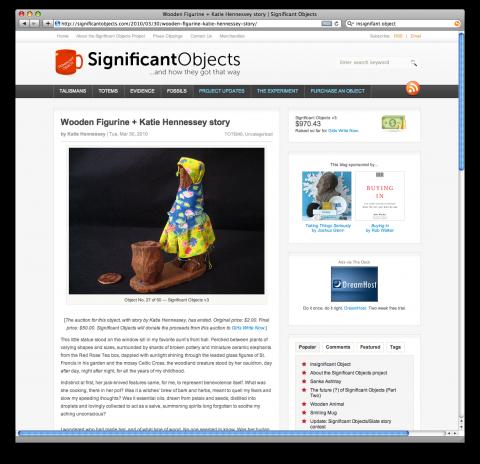 Haz click en la foto para visitar la web de 'Significant Objects'.