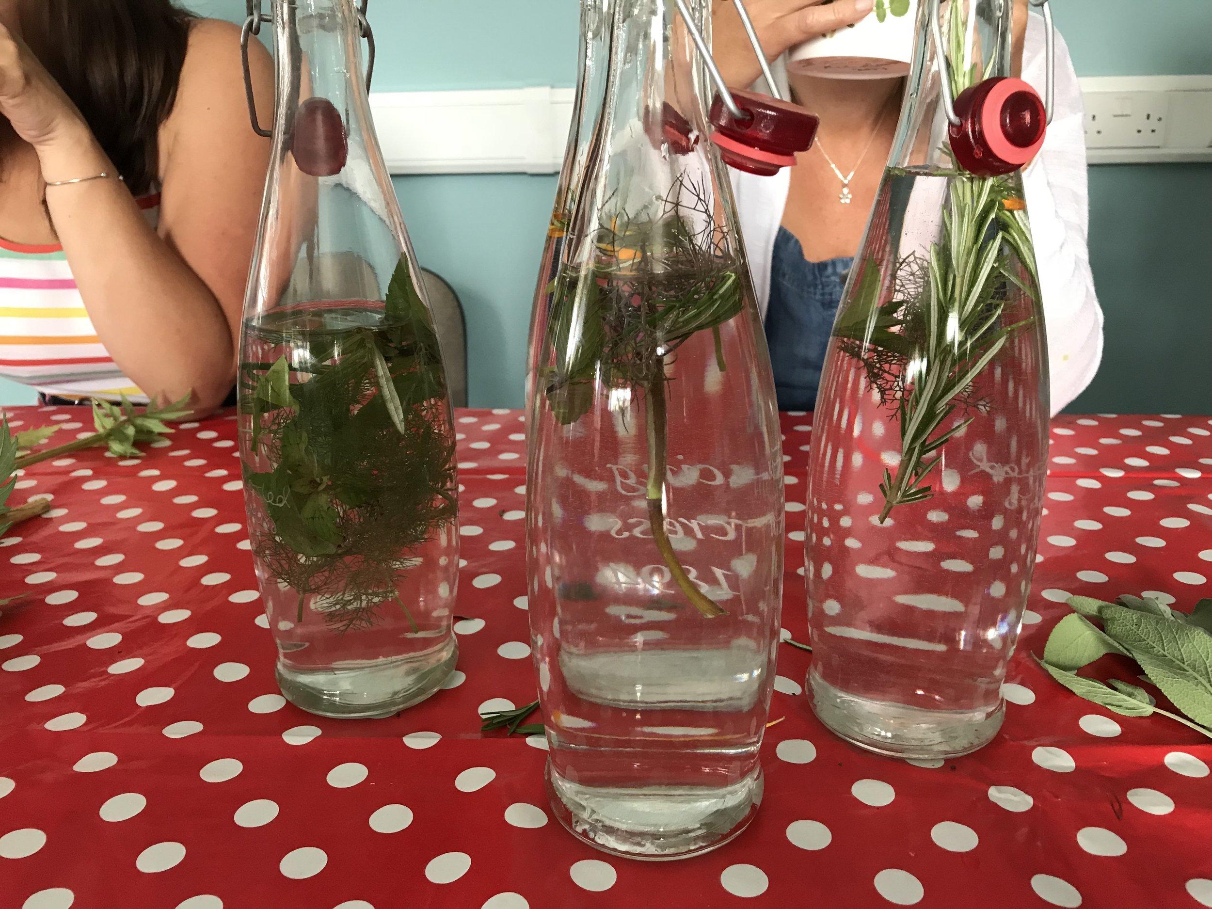 Herbs infused in Waddock spring water