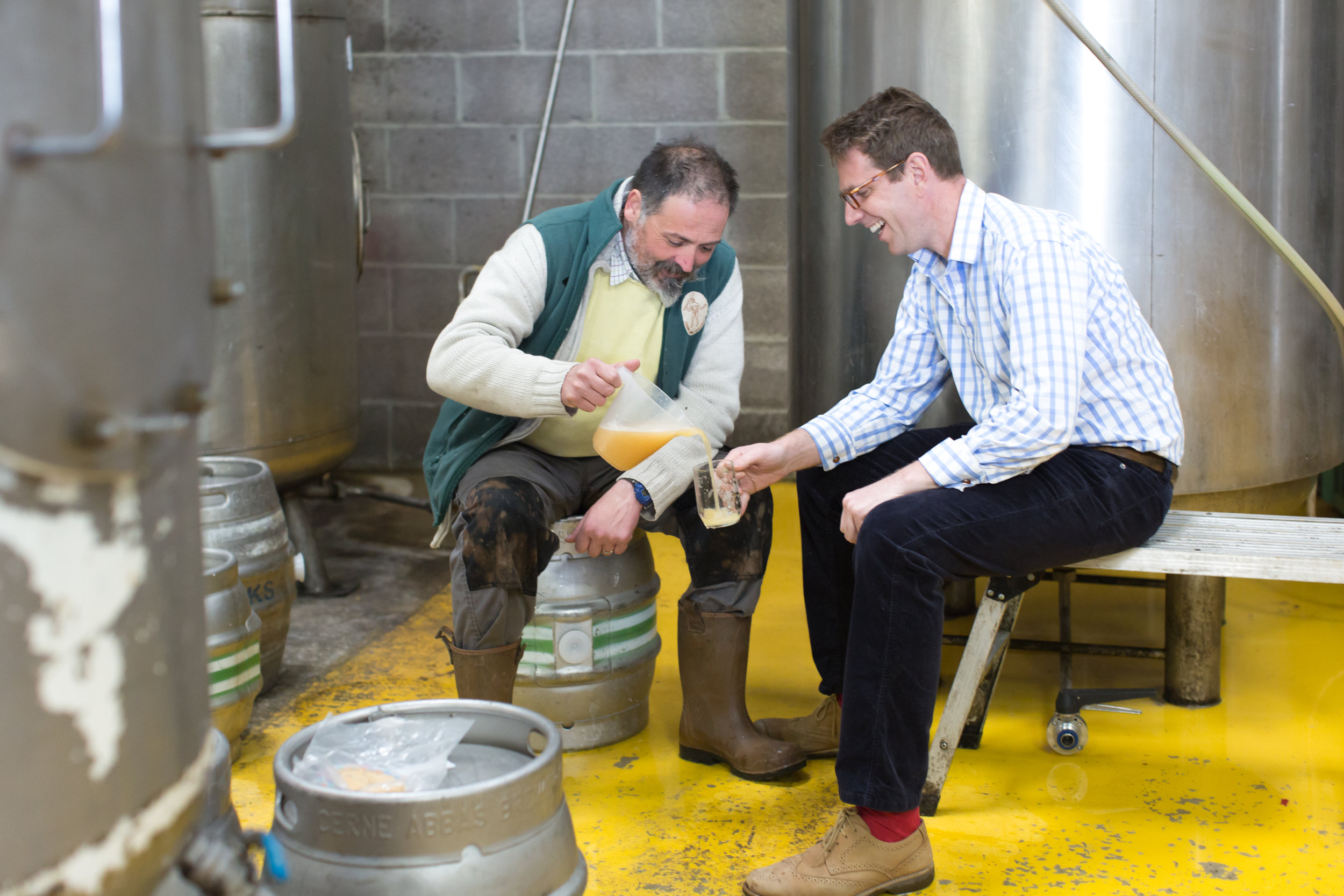 "Vic Irvine from Cerne Abbas Brewery and Tom sample the beginnings of ""Watercress Warrior"""