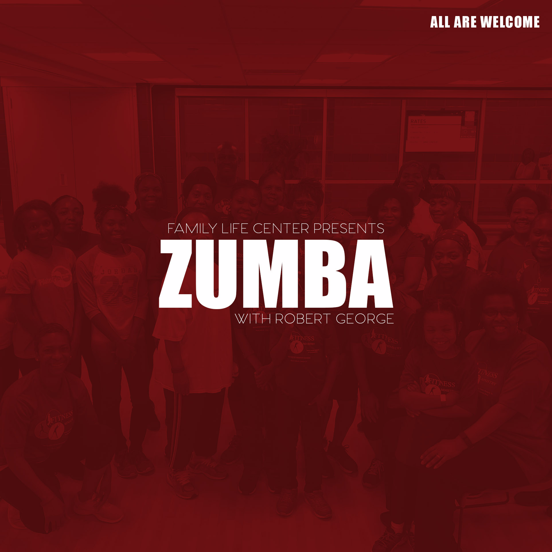 """Zumba is a Latin and world dance inspired workout, combining cardio, muscle conditioning, balance and flexibility, and boosted energy. We take the """"work"""" out of workout, by mixing low-intensity and high-intensity moves for an interval style, calorie-burning dance fitness party. This class is suitable for all fitness levels."""