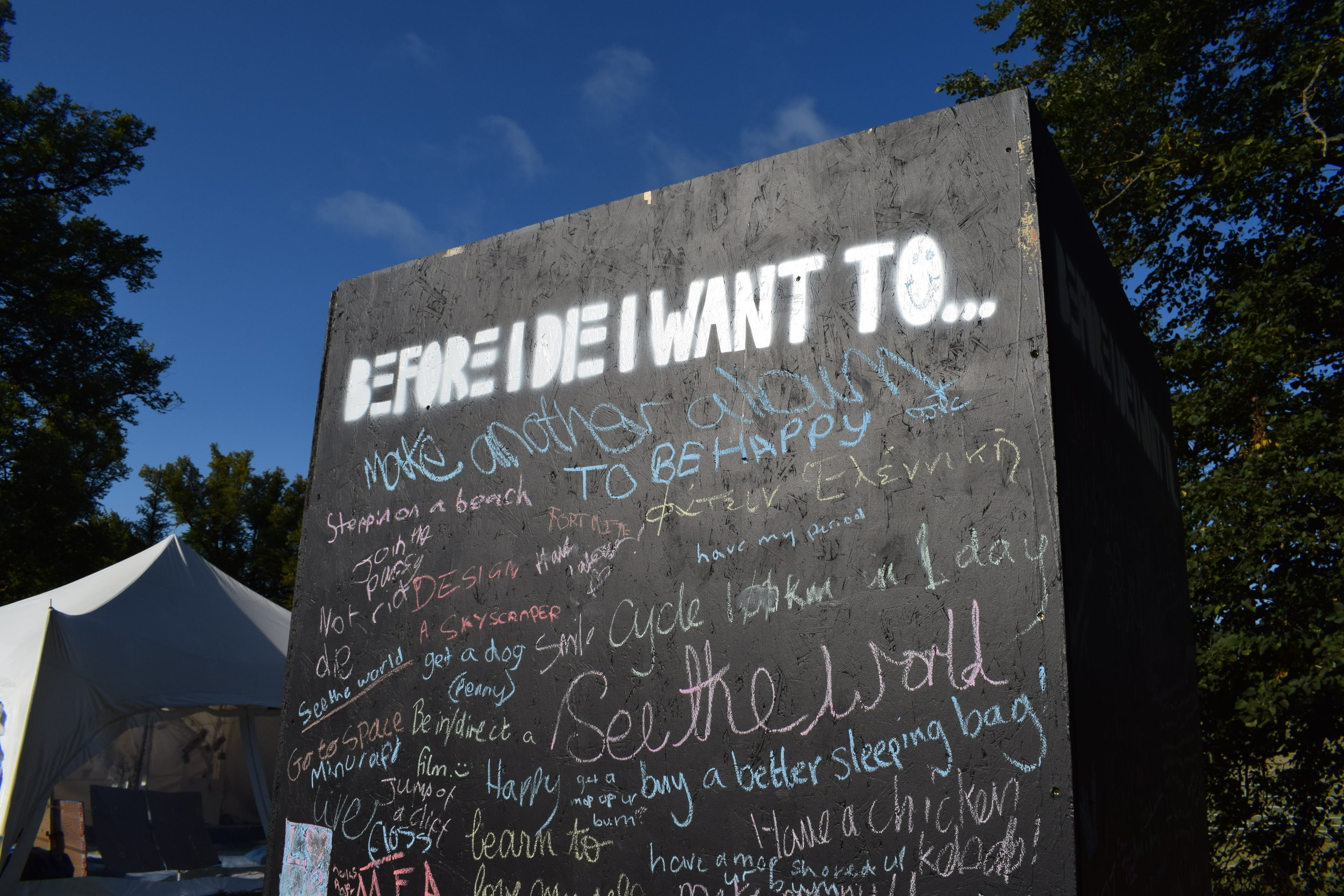 """Over the weekend, festival-goers shared their hopes and dreams """"Before I die"""""""