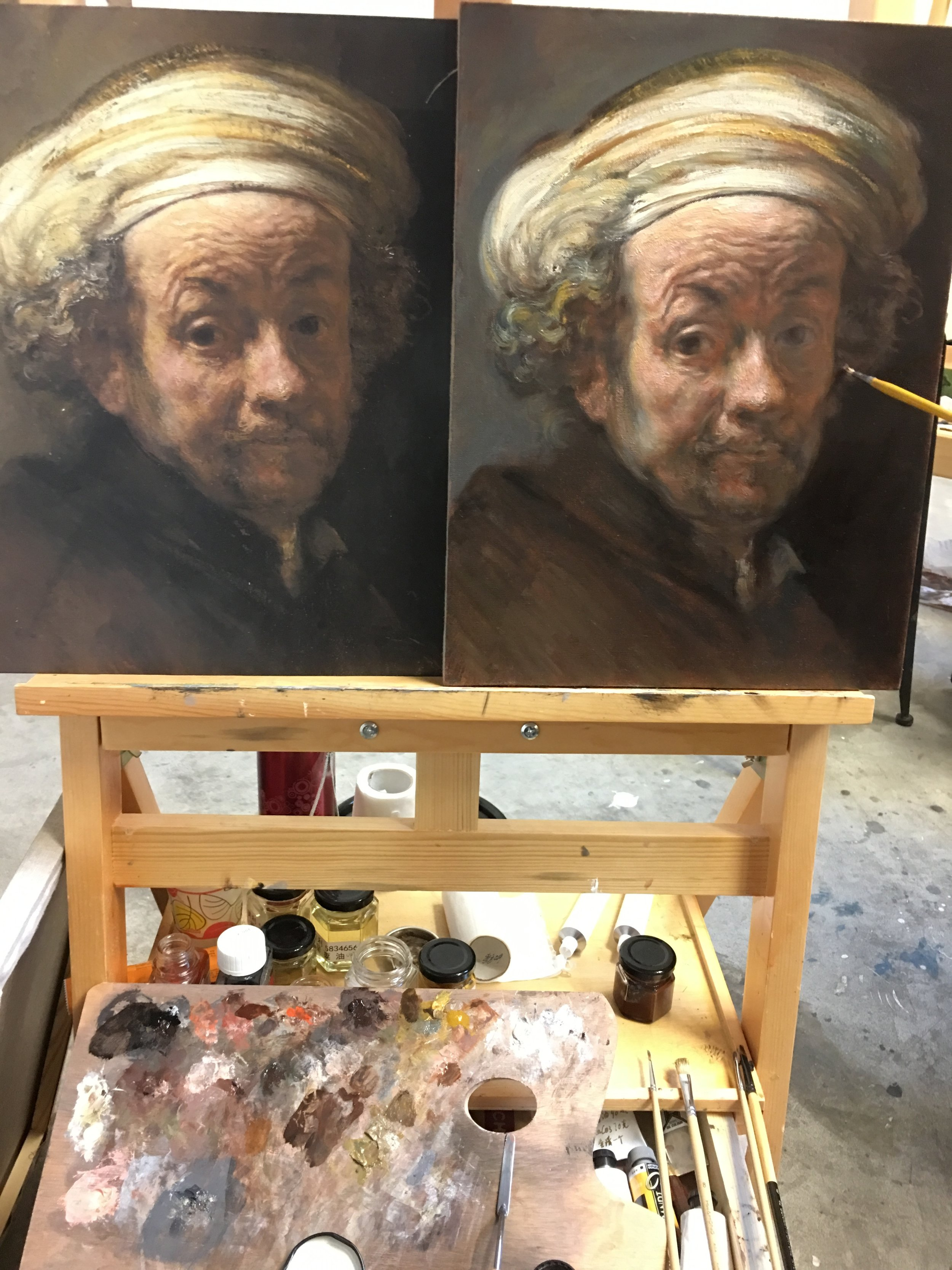 Rubens and Rembrandt workshop, 2018. Mr. Wang Jun's Mastercopy of Rembrandt's  Self portrait as the Apostle Paul , 1661.