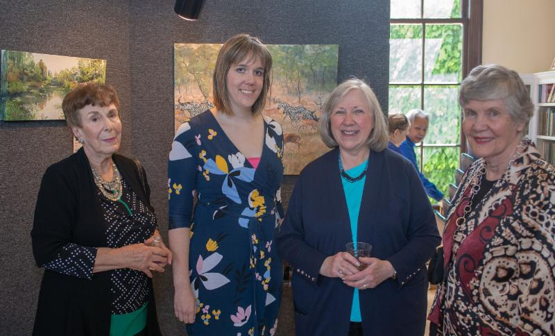 Megan Dubois, Fairfax City Parks and Recreation Cultural Arts Manager, chats with Mary Jo Portch, Donna Finnegan and Spotlight judge Chica Brunsvold