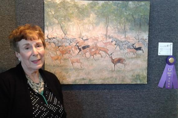 "Mary Jo Portch captures the Best in Show Award  for her oil ""Migration"""