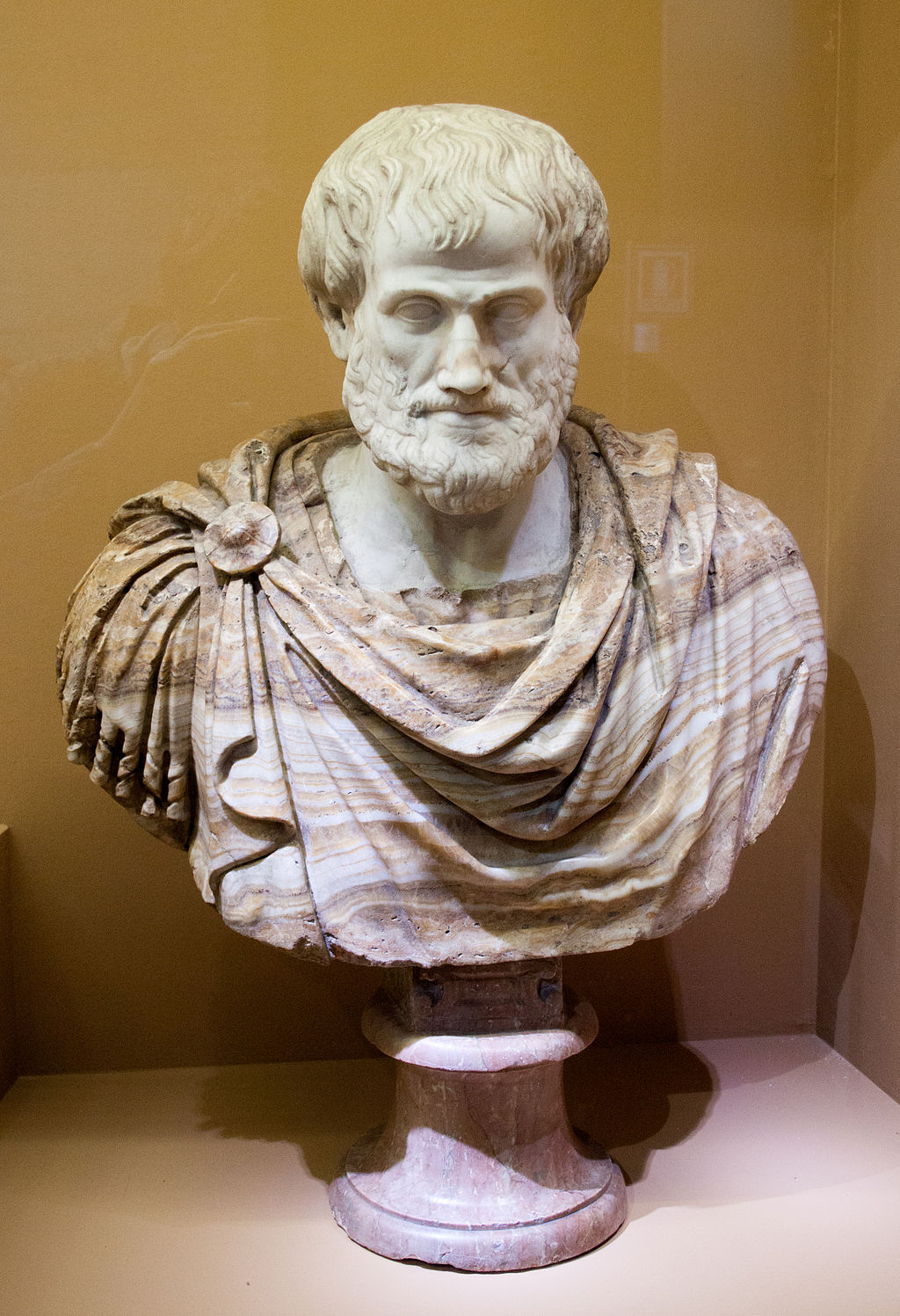 Bust of Aristotle. Marble, Roman copy after a Greek bronze original by  Lysippos  from 330 BC; the alabaster mantle is a modern addition (Wikimedia Commons)