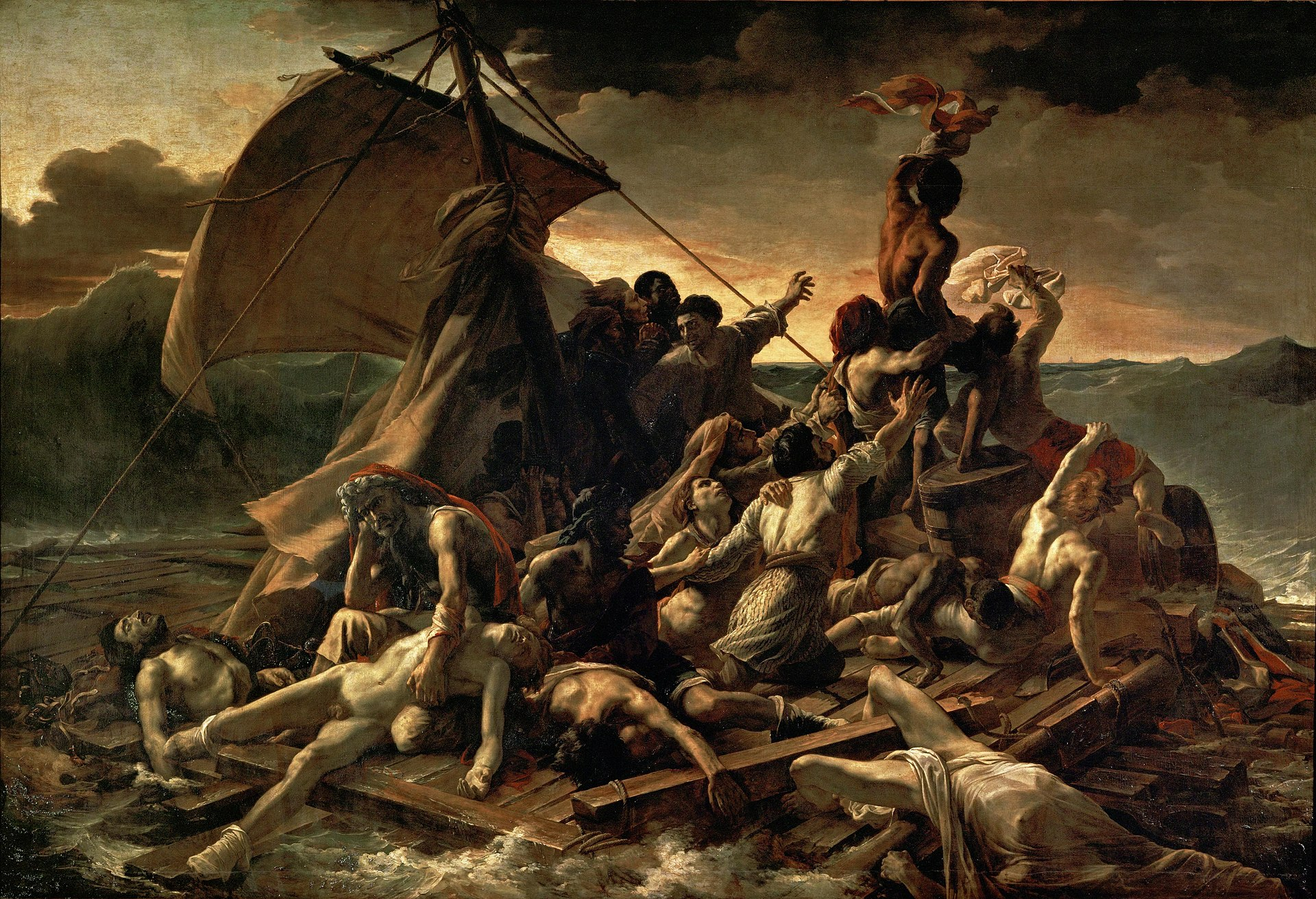"Theodore Gericault's ""The Raft of the Medusa"" epitomises the depiction of a dramatic instant in a narrative. It achieves a level of poetry that has made it iconic, in part because the specific story is represents is a potent metaphor for the shared existential angst of the human condition."