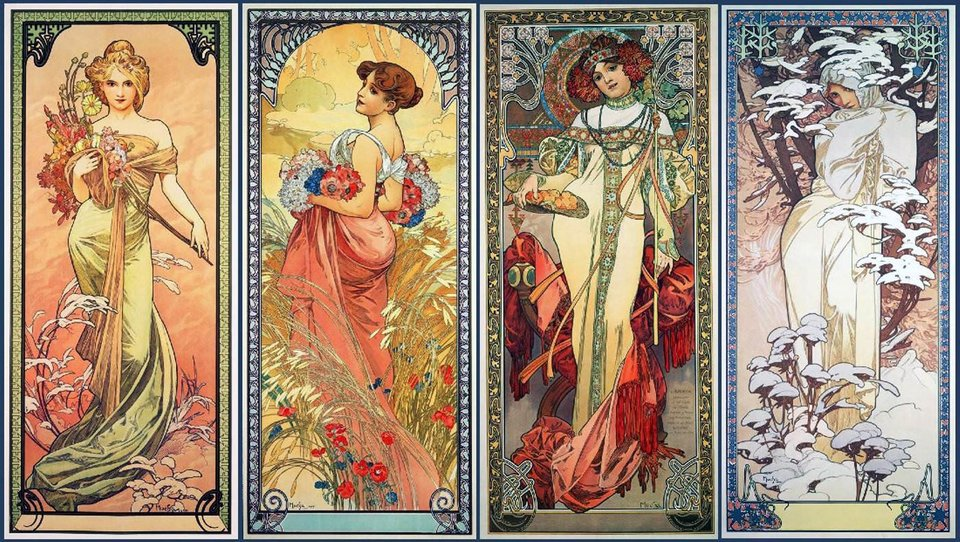 "Alphonse Mucha ""The Four Seasons"""